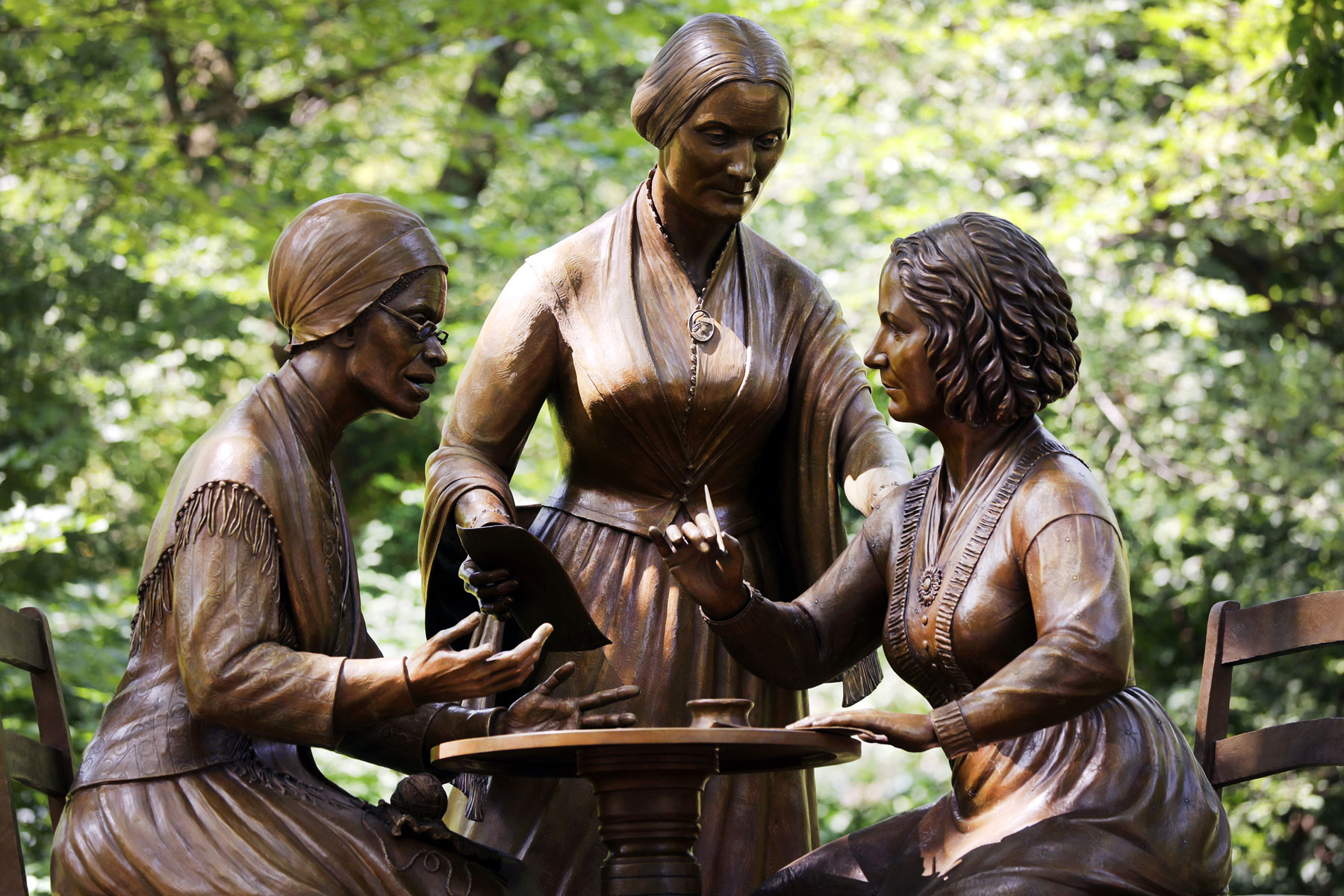 statue of women's rights pioneers Sojourner Truth, Susan B Anthony, and Elizabeth Cady Stanton