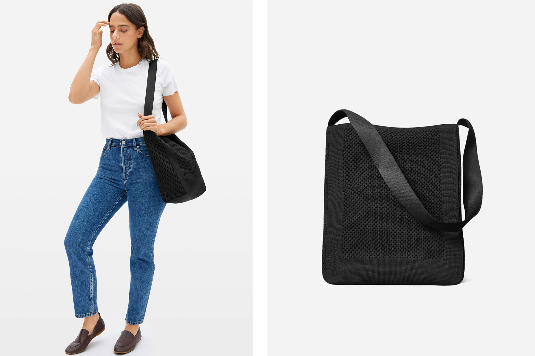 Woman carrying black knit tote bag