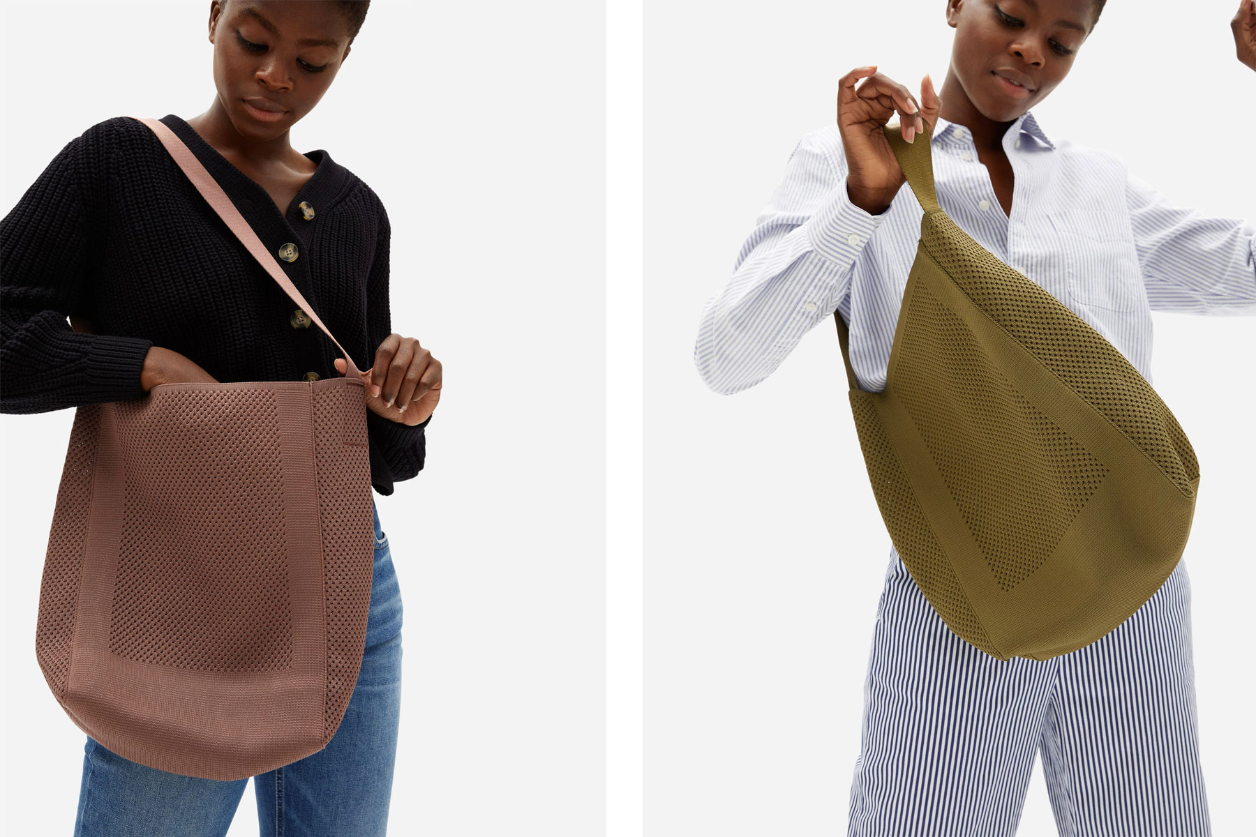 Woman carrying mauve and olive green tote bags