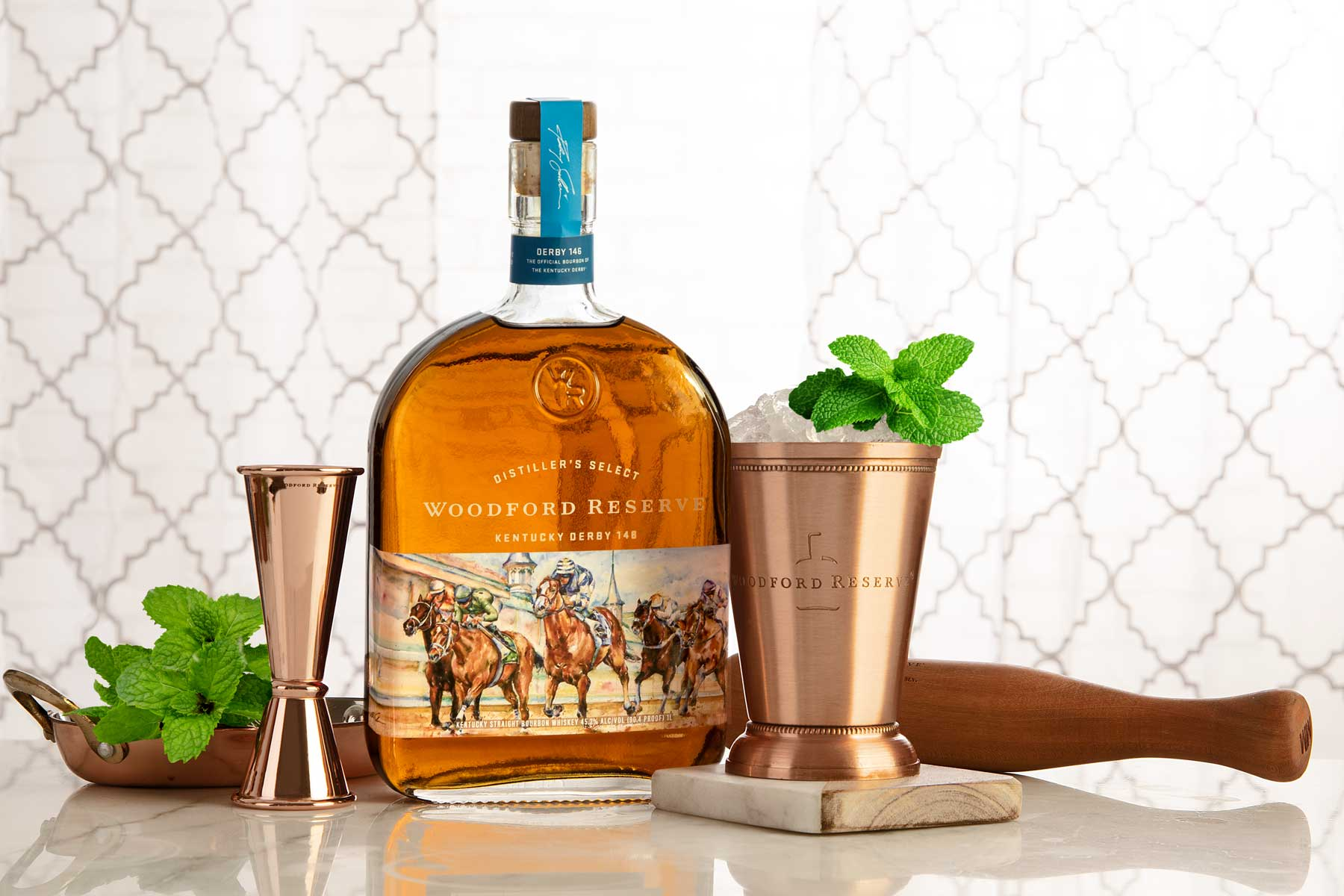 Image of Woodford Reserve Bottle for Kentucky Derby with commemorative cups