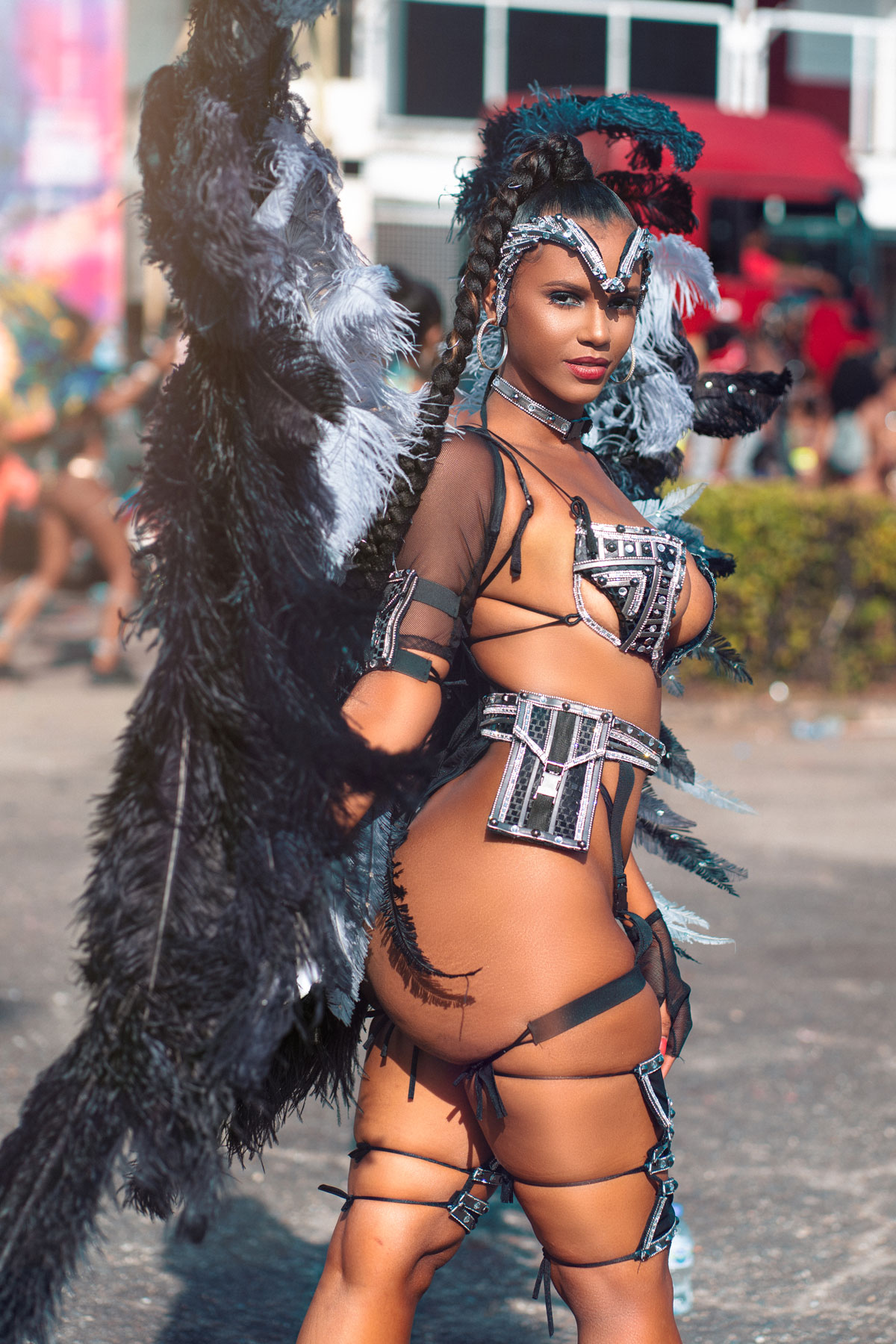 Woman in carnival outfit