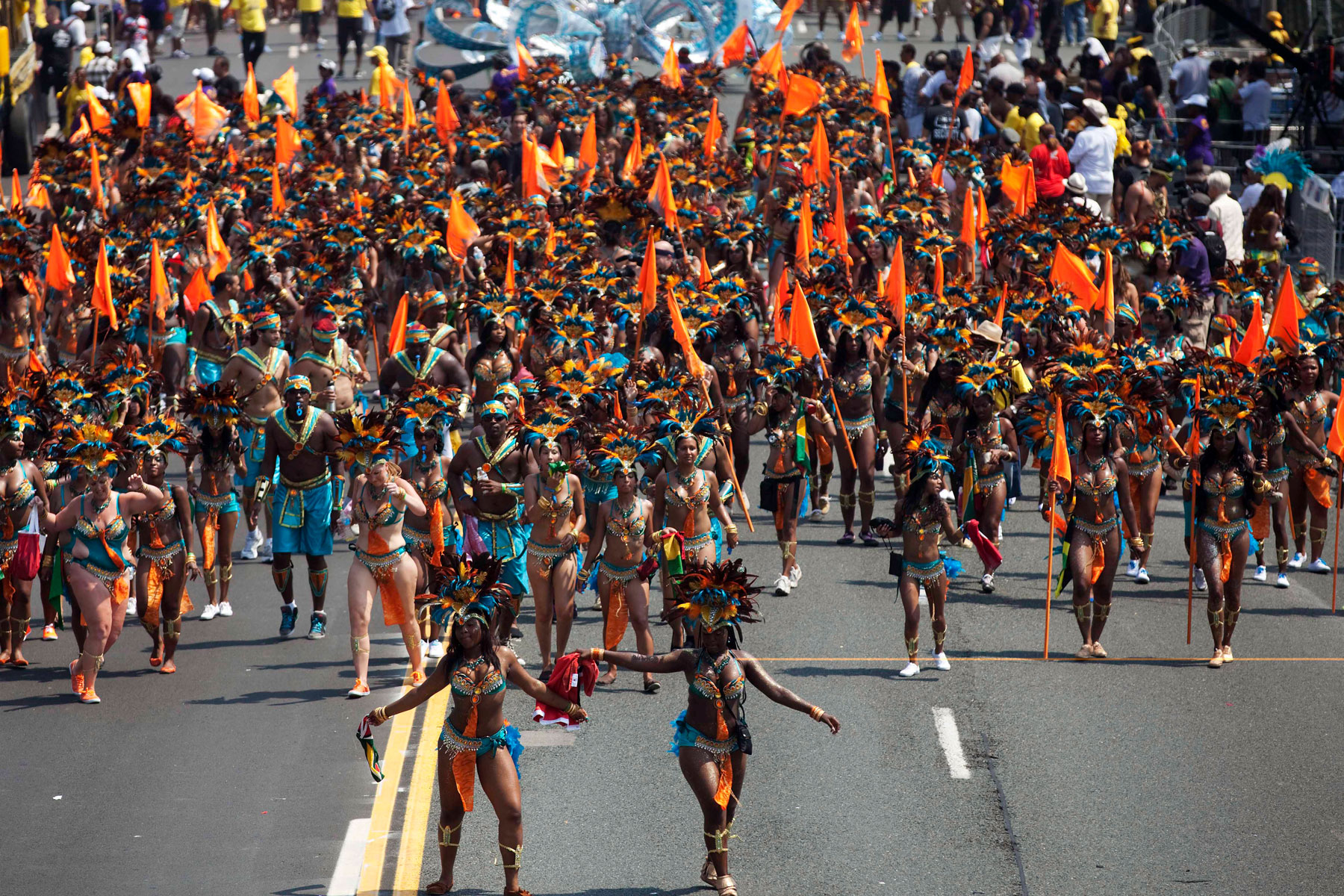 Crowd marching at Toronto Carnival