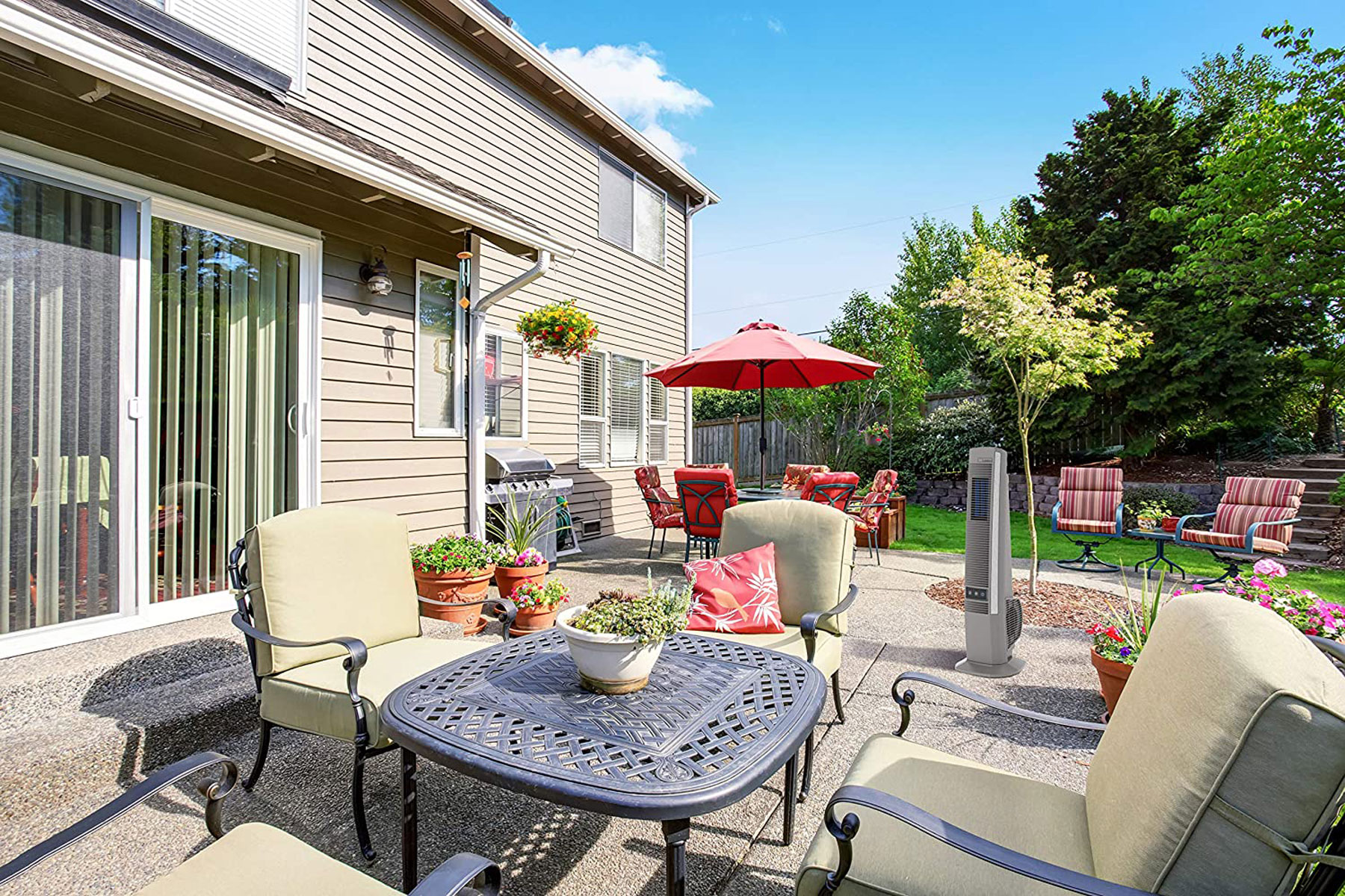 Backyard with furniture and outdoor fan