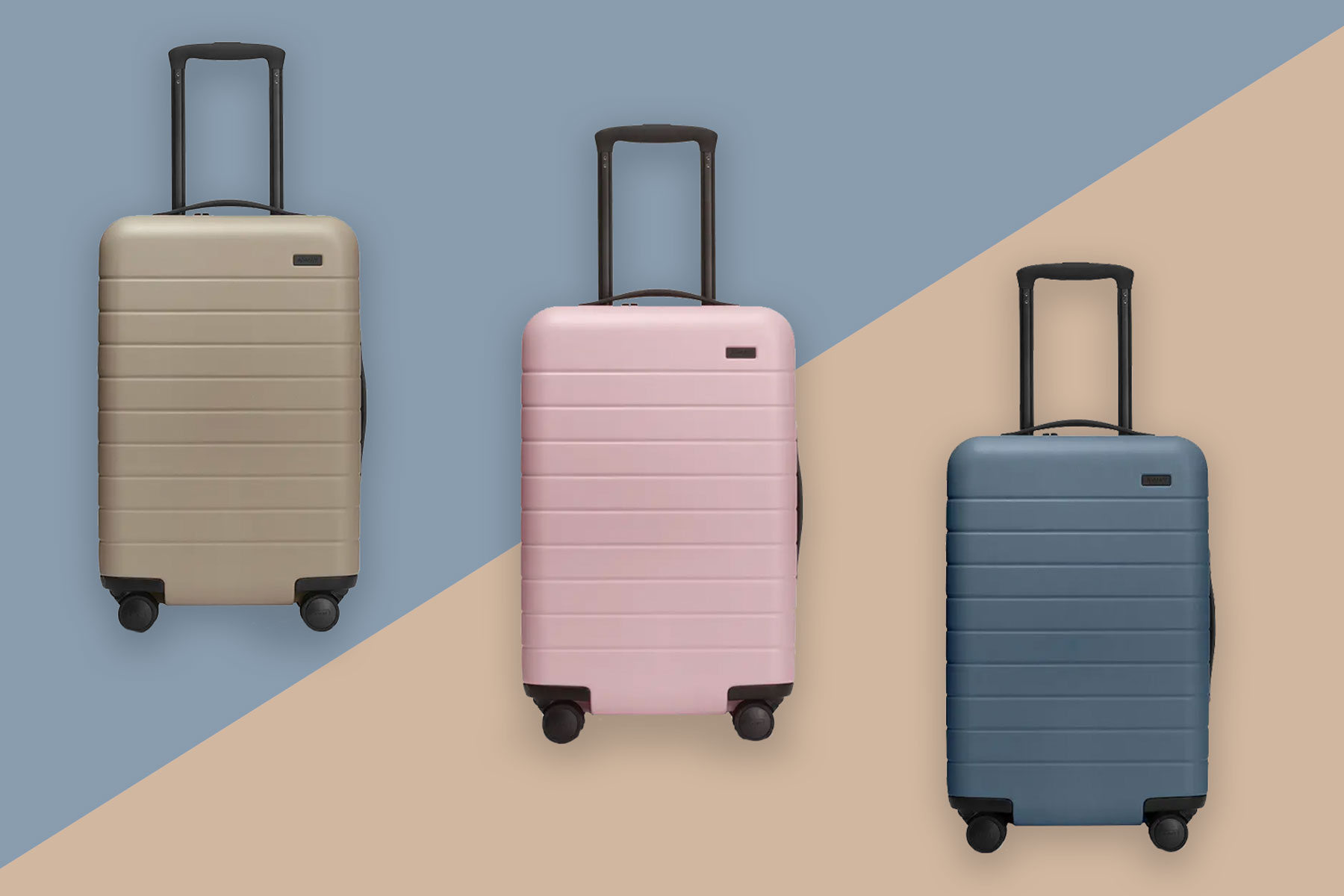Various Away hardshell suitcases