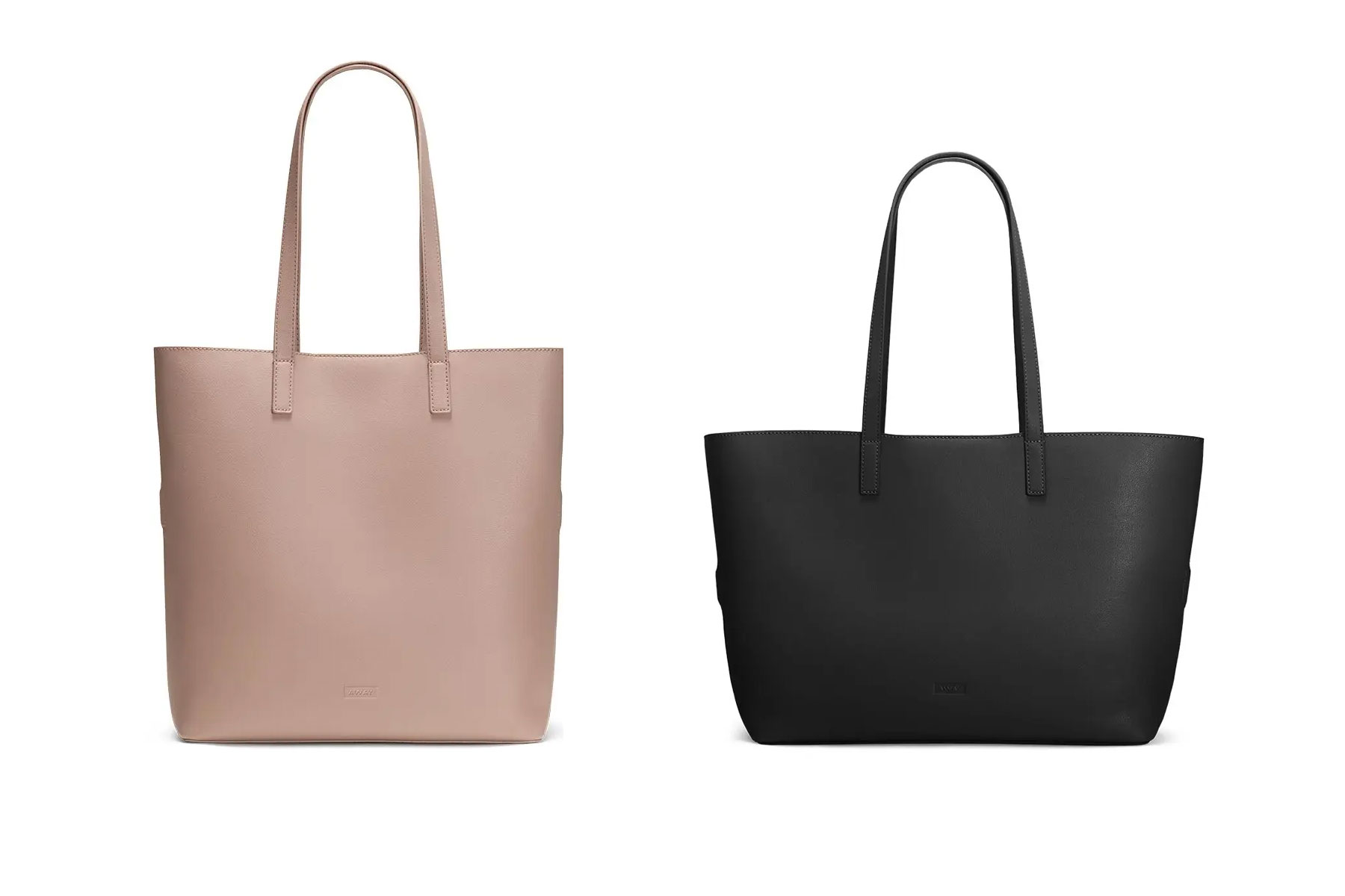 Blush pink and black leather totes