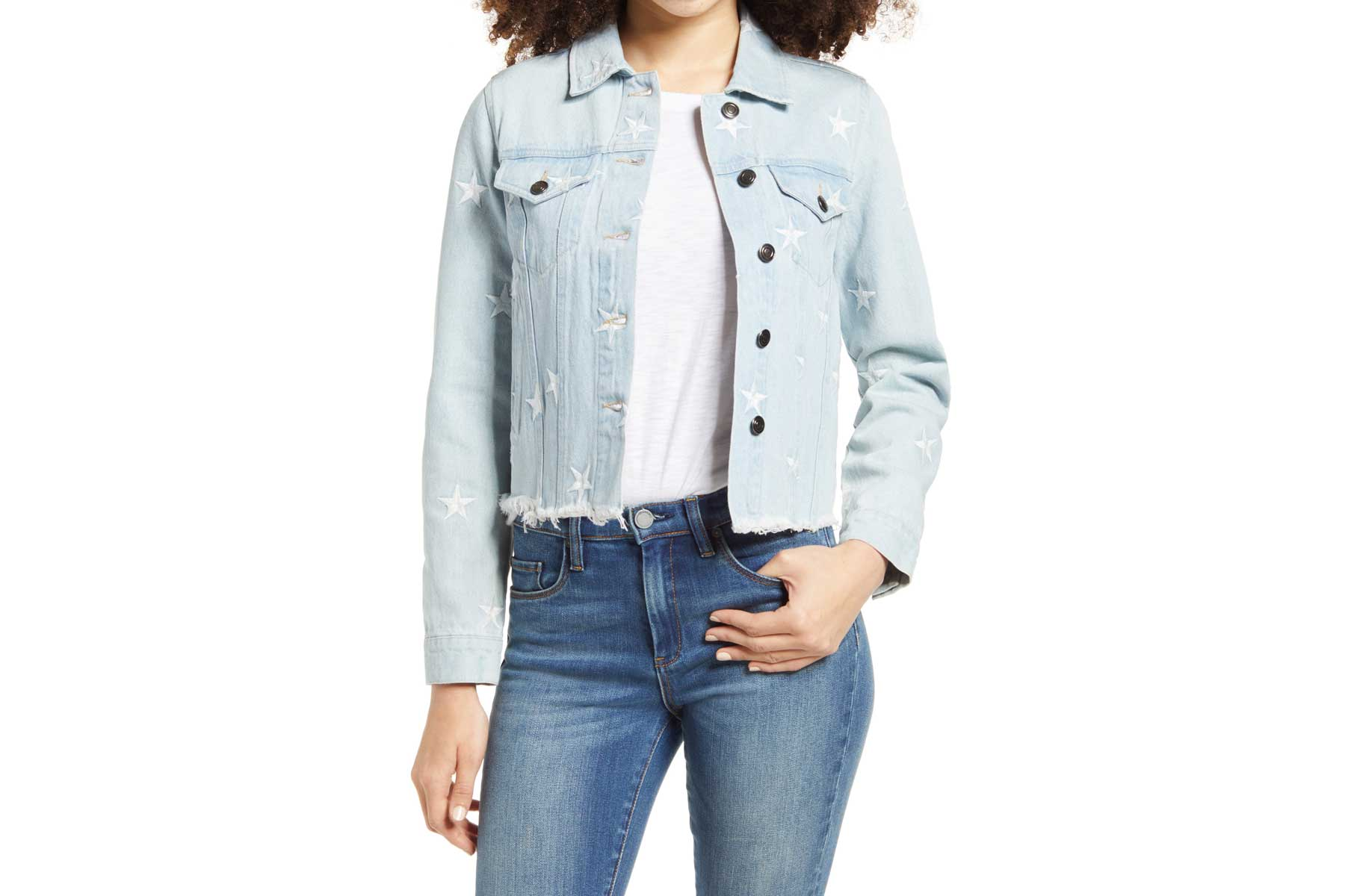 Know One Cares star embroidered denim jacket