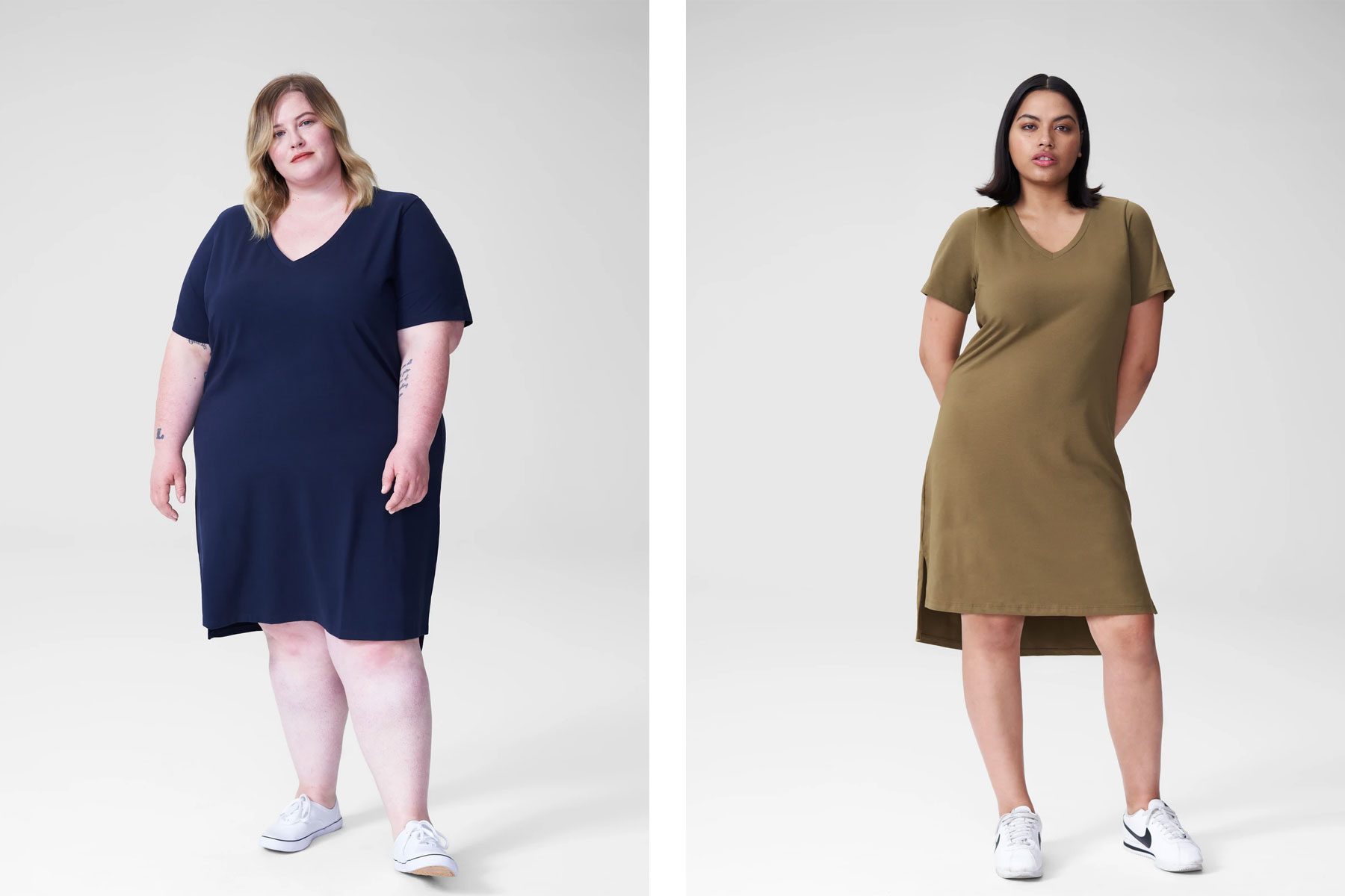 Women wearing navy and olive t-shirt dresses