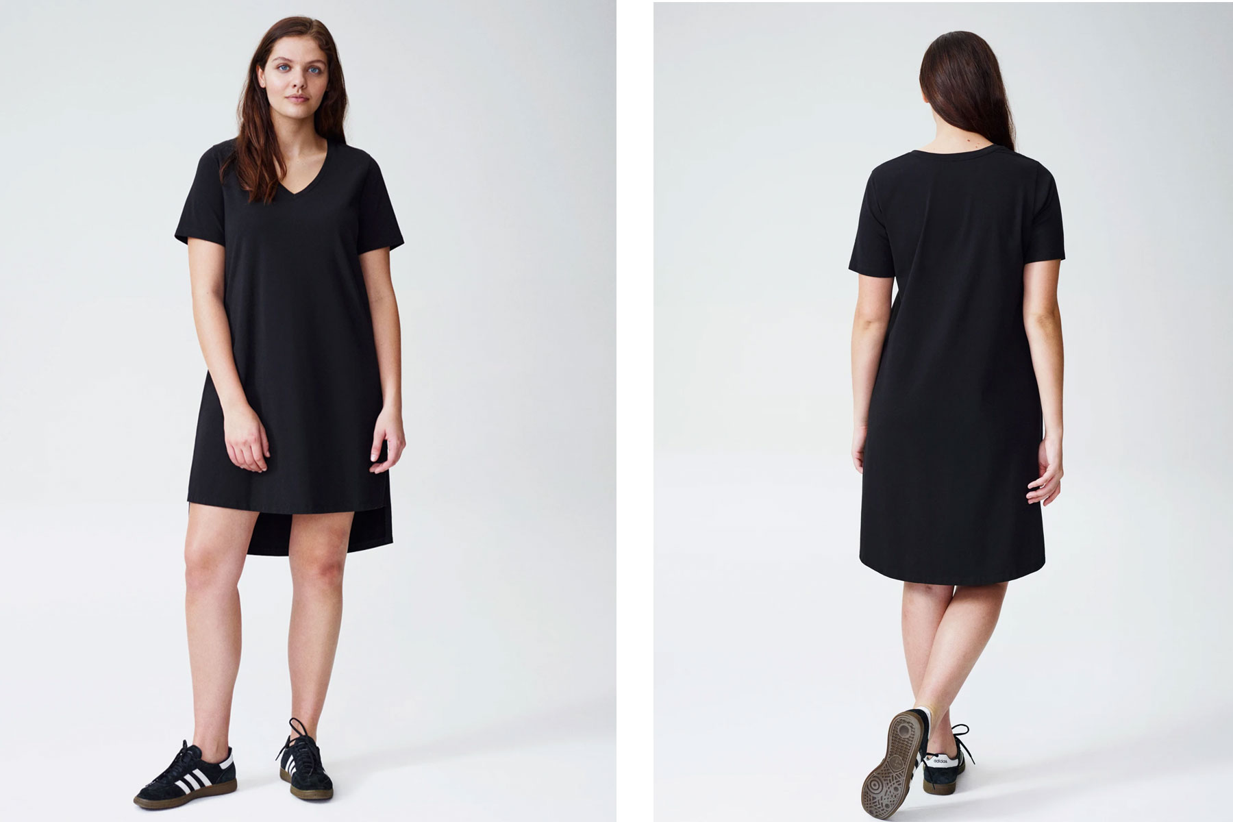 Woman wearing black t-shirt dress