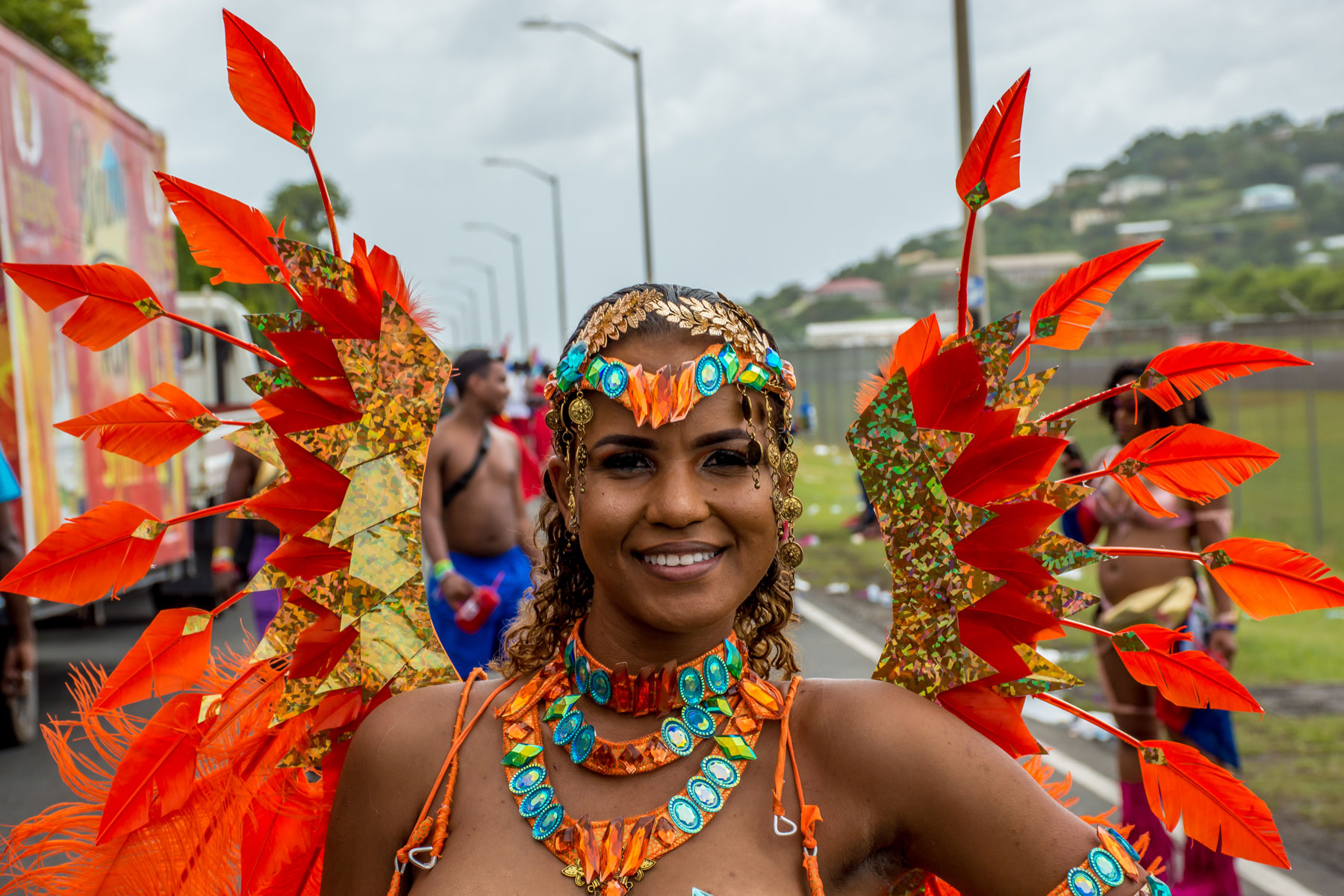 Woman in orange carnival outfit