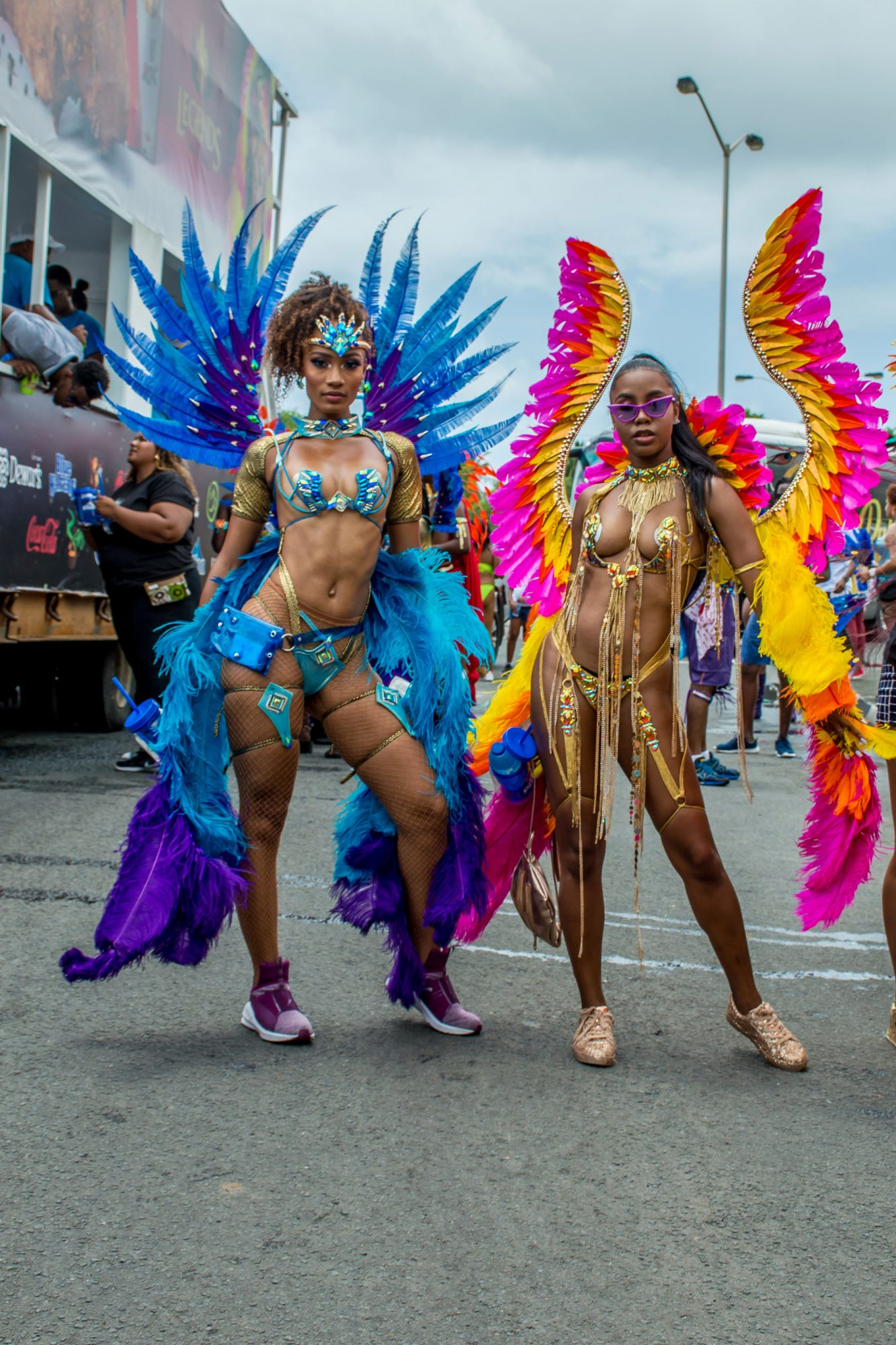 Woman posing in carnival outfits