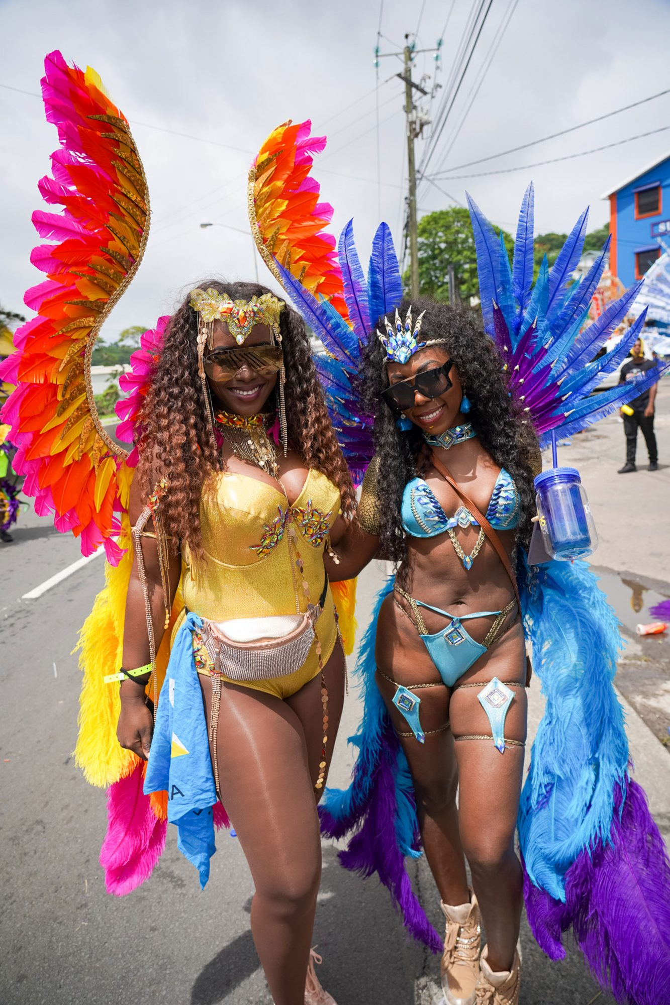 Women dressed in feathers for carnival