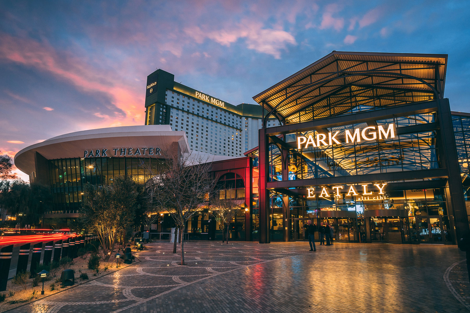 Exterior of Park MGM hotel with Eataly sign