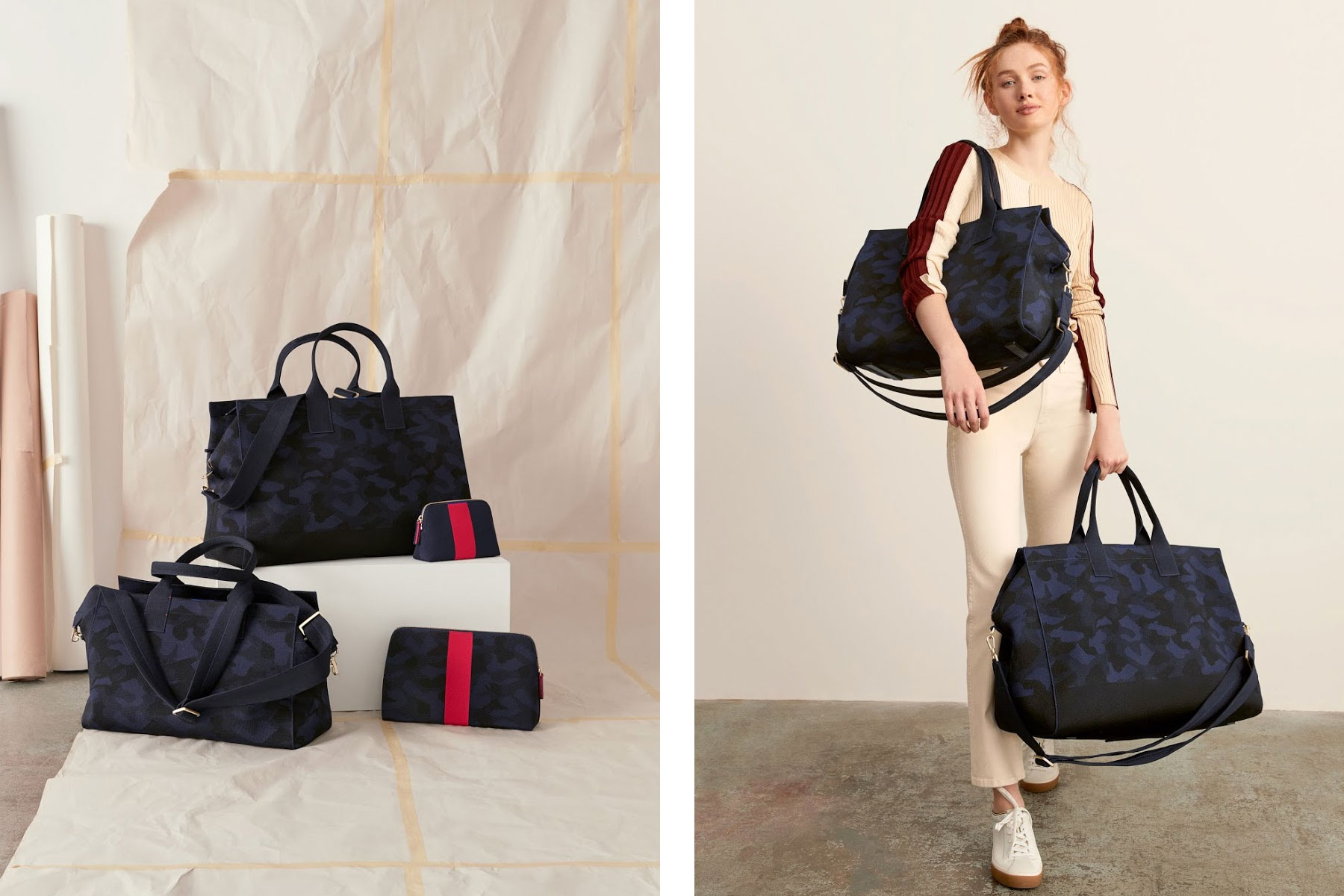 Woman holding various travel bags, duffels, weekender