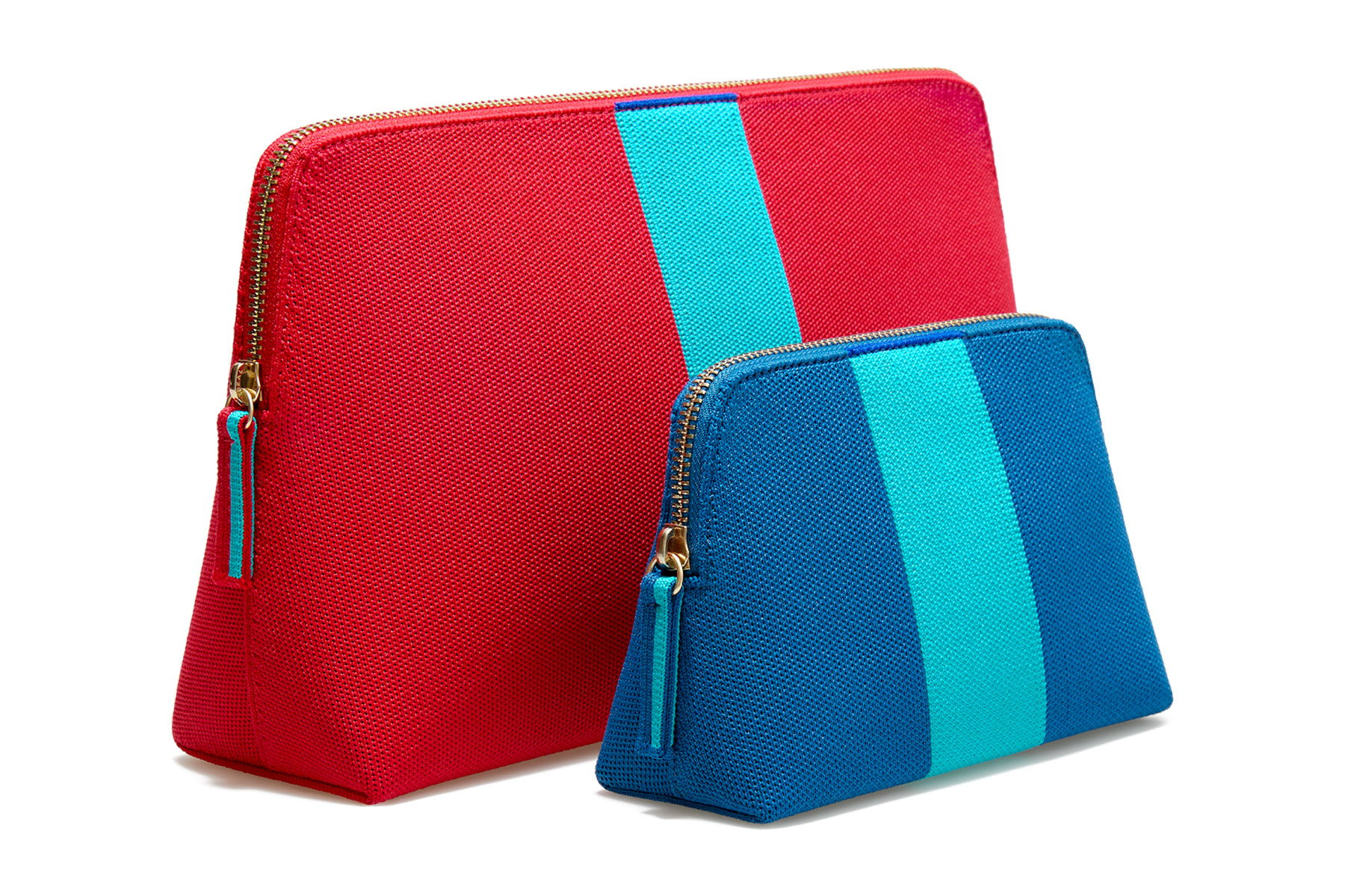 Pink and blue makeup bags