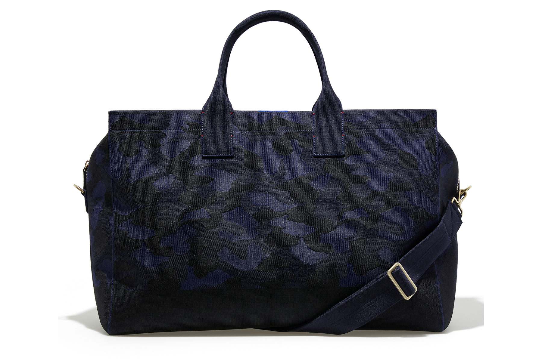 Black and navy camo weekender bag