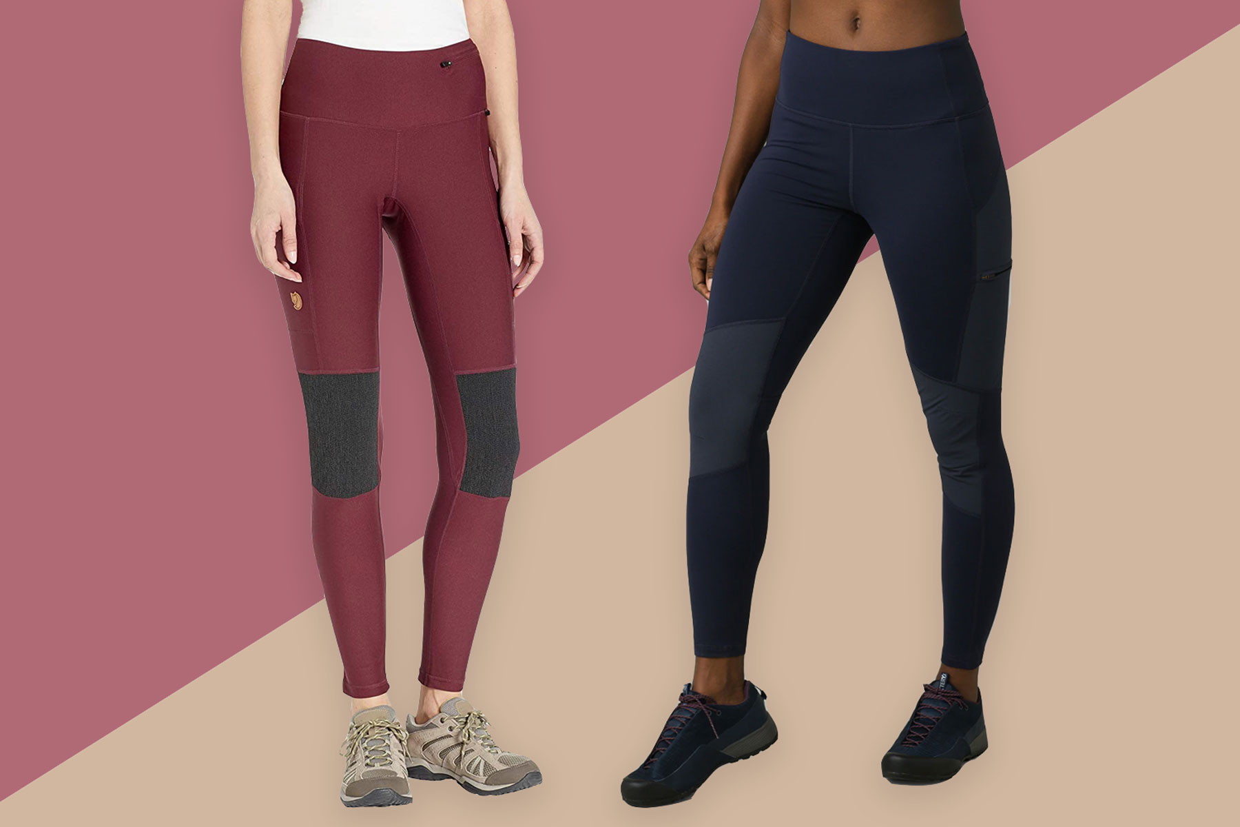Women wearing deep red and navy blue hiking leggings