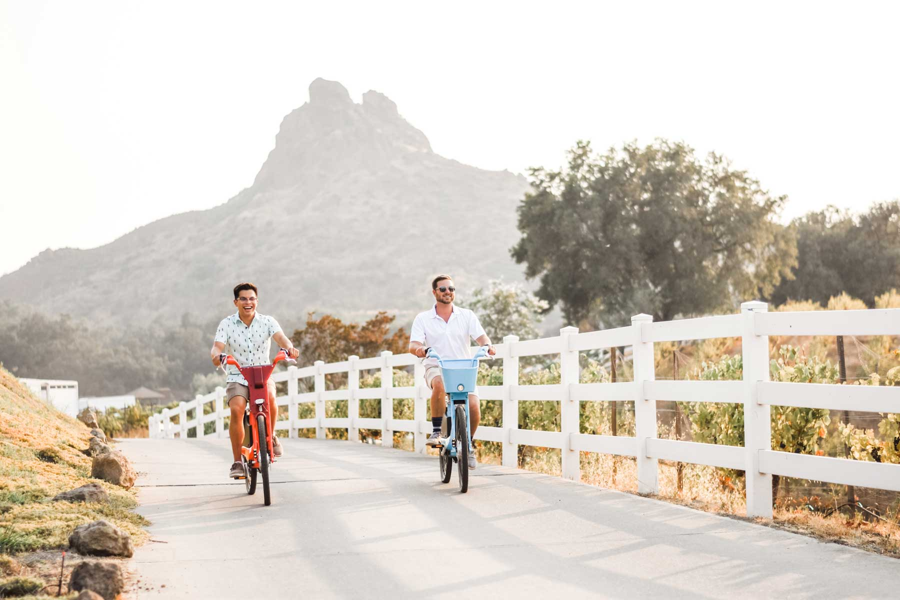 Two Men enjoying a leisure bike ride in Malibu California on a sunny day