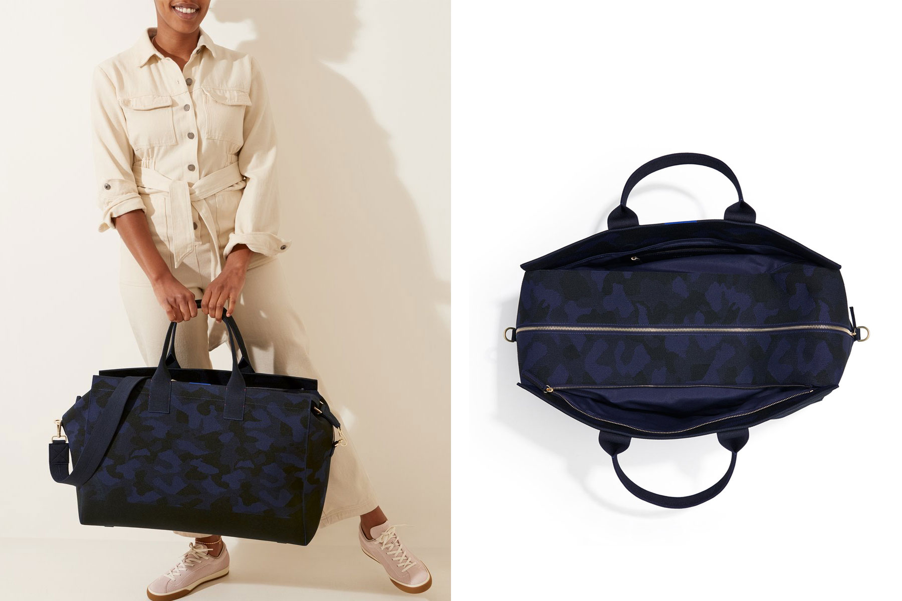Woman holding black and navy camo weekender bag