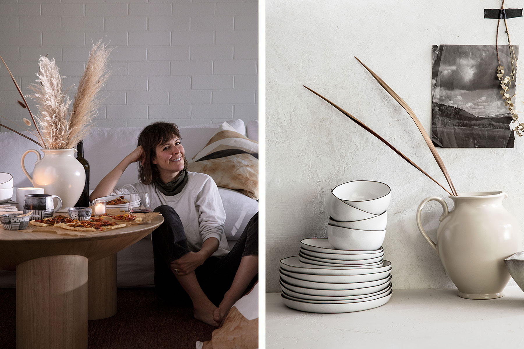 Leanne Ford sitting in floor with pizza, plates and bowls stacked