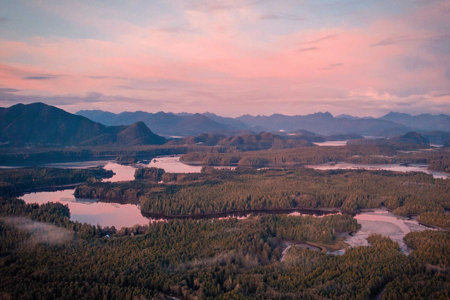 Scenic View Of Field Against Sky During Sunset, Tofino Beach Vancouver Island From Above