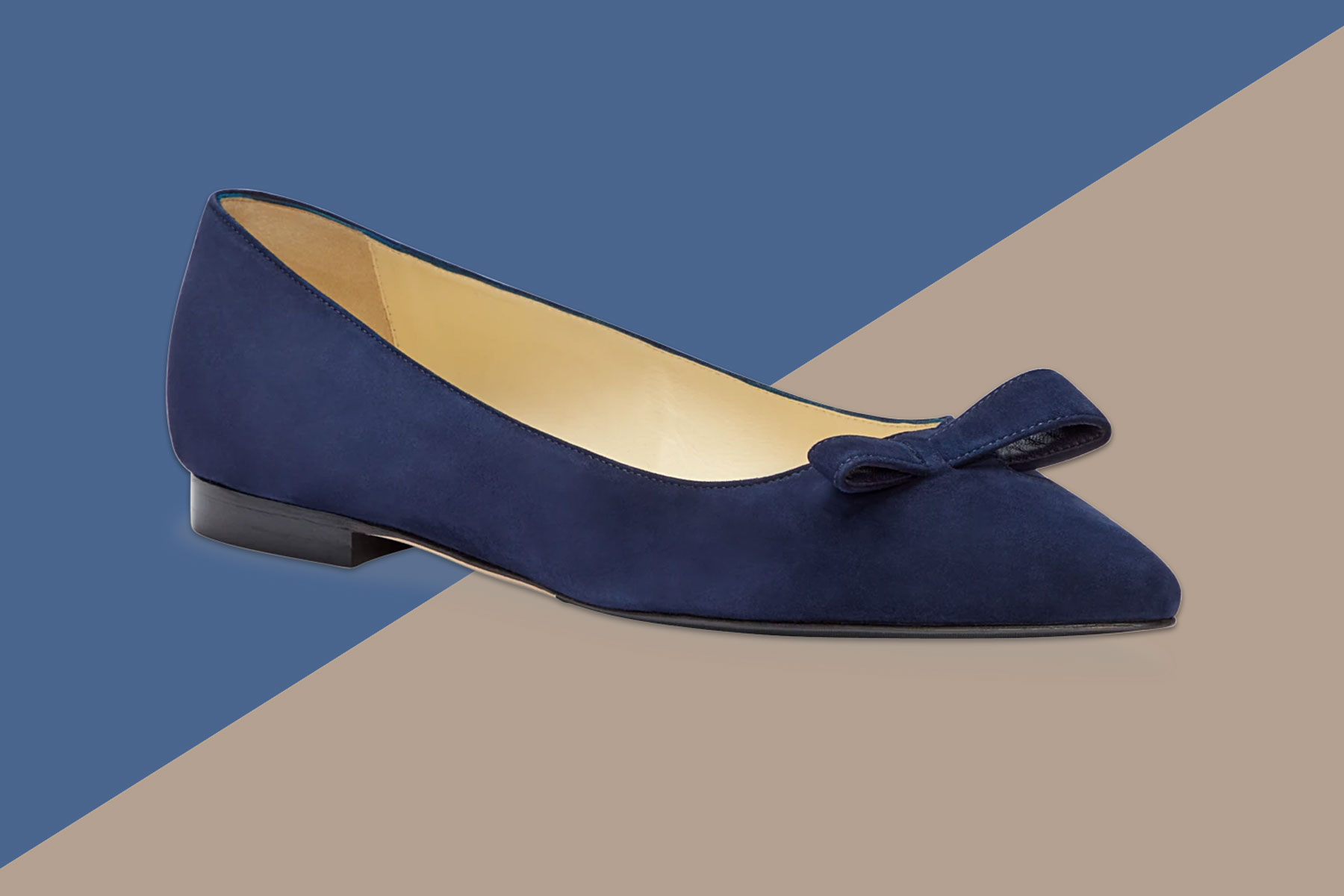 Navy suede ballet flats with pointed toe