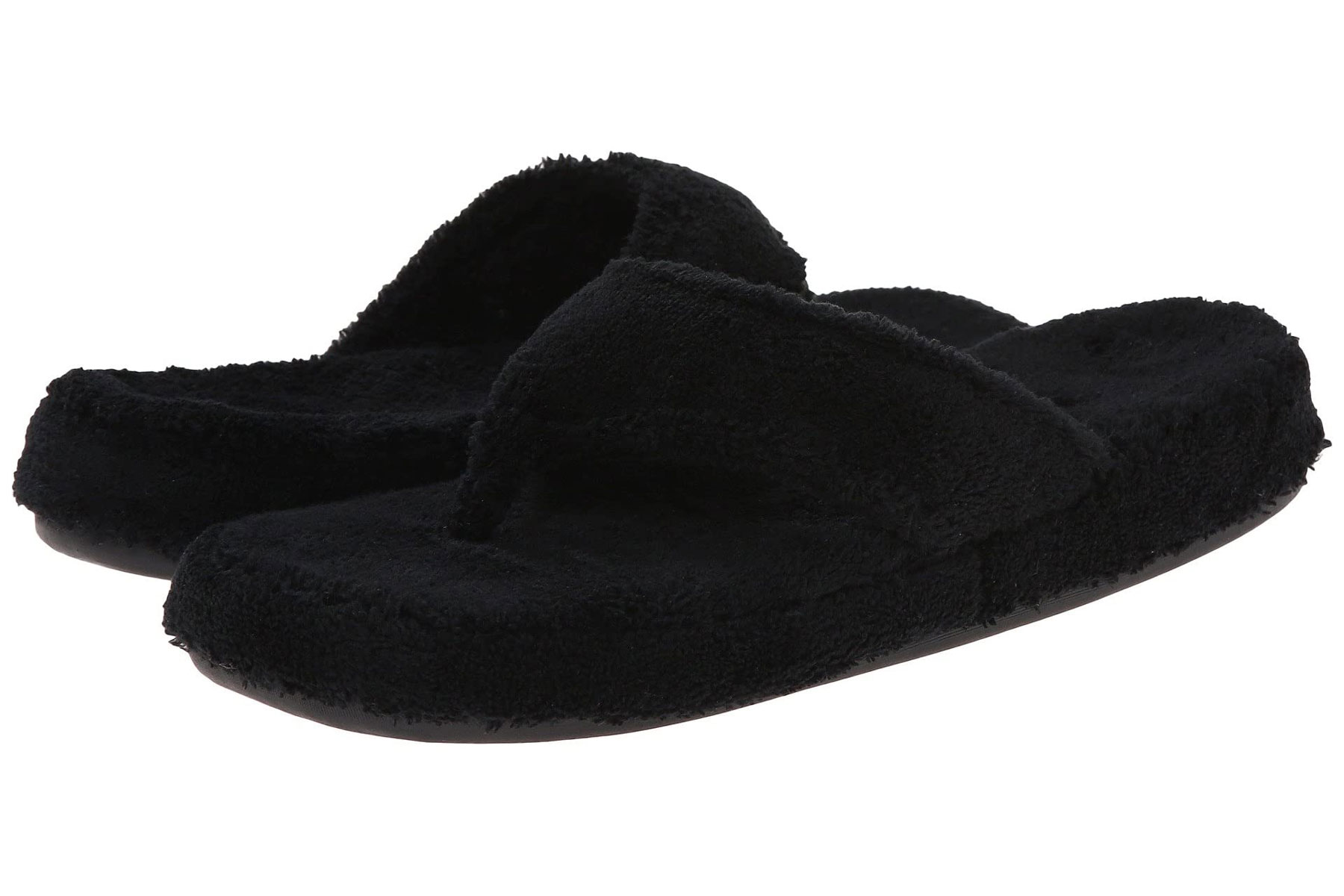 Black plush slipper sandal