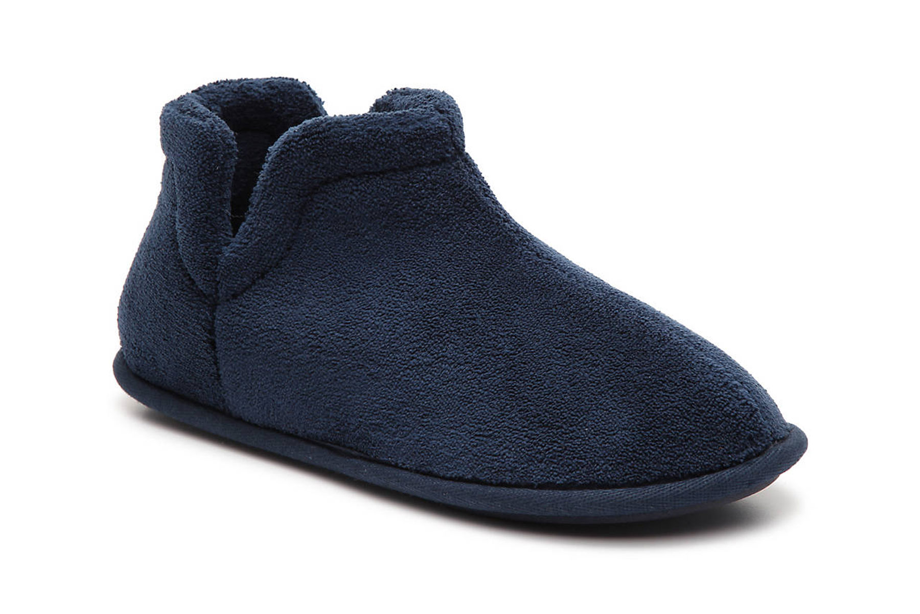 Navy plush slipper boot