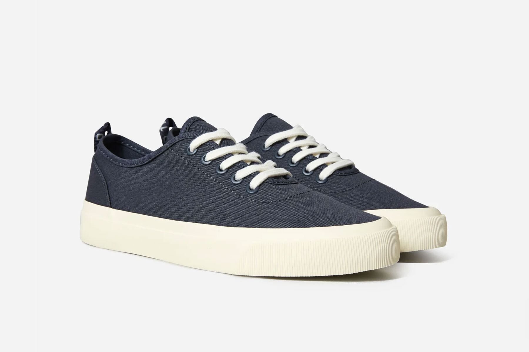 Navy and white canvas sneakers