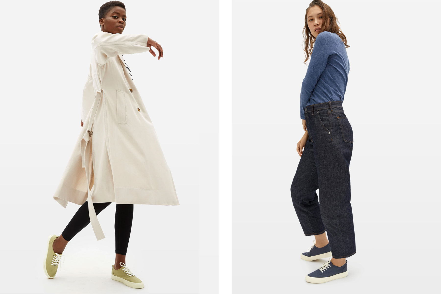 Women wearing Everlane sneakers