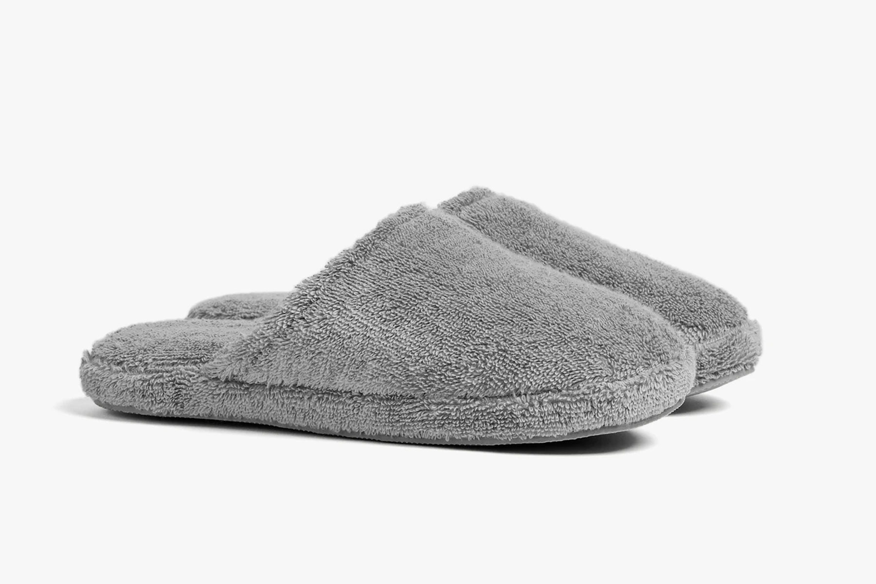 Grey terry slippers