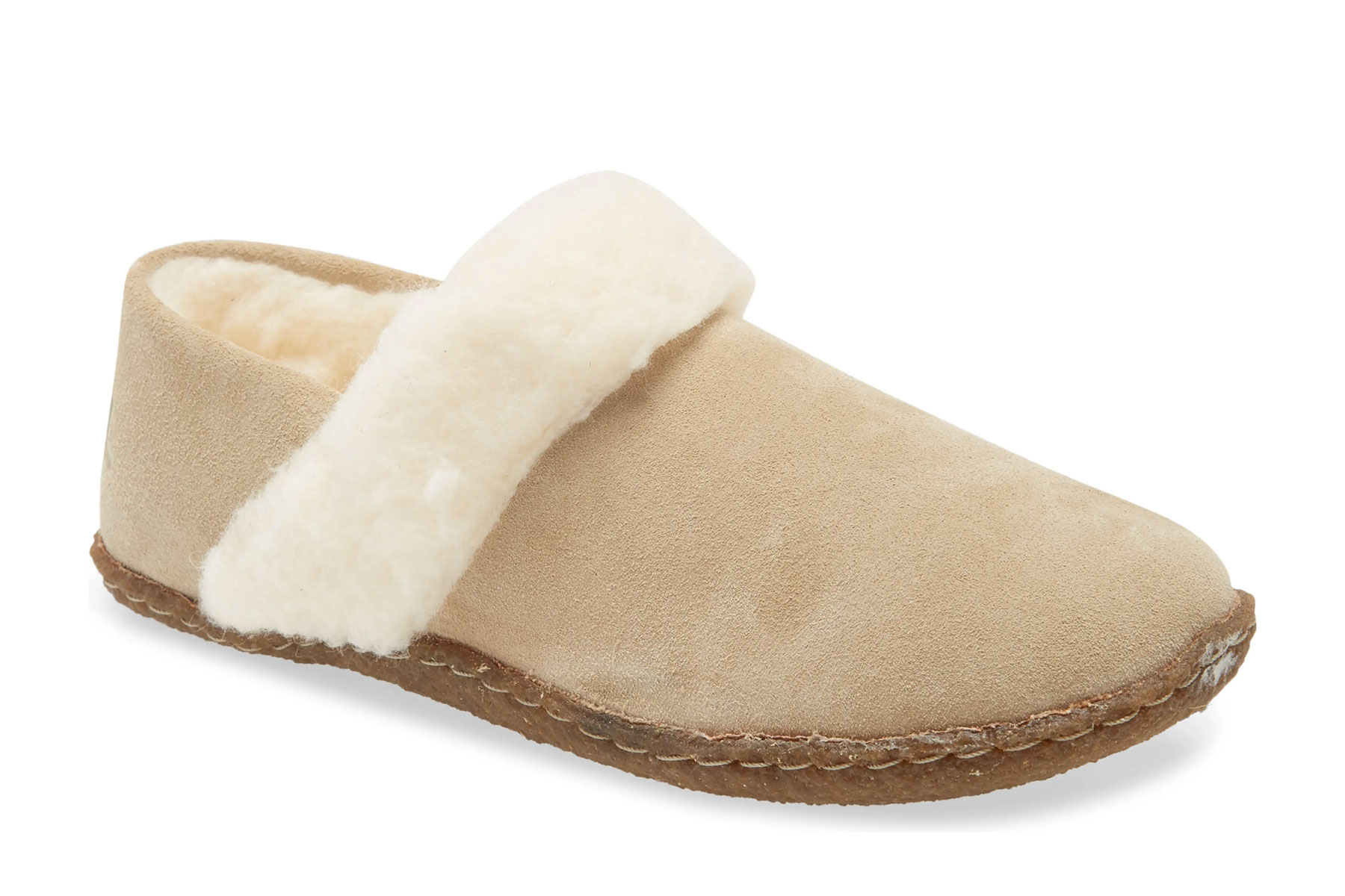 Tan and cream shearling slippers