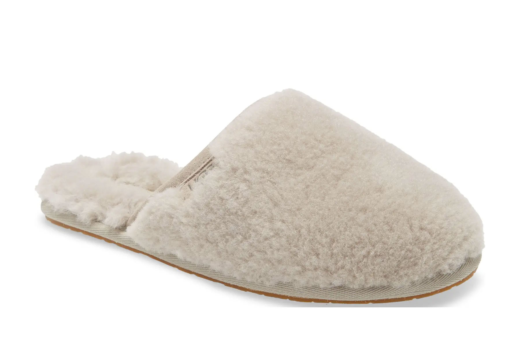 cream/grey fluffy slippers