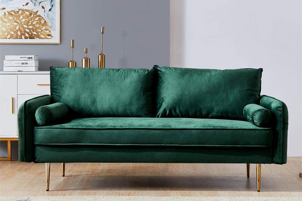 green velvet couch amazon