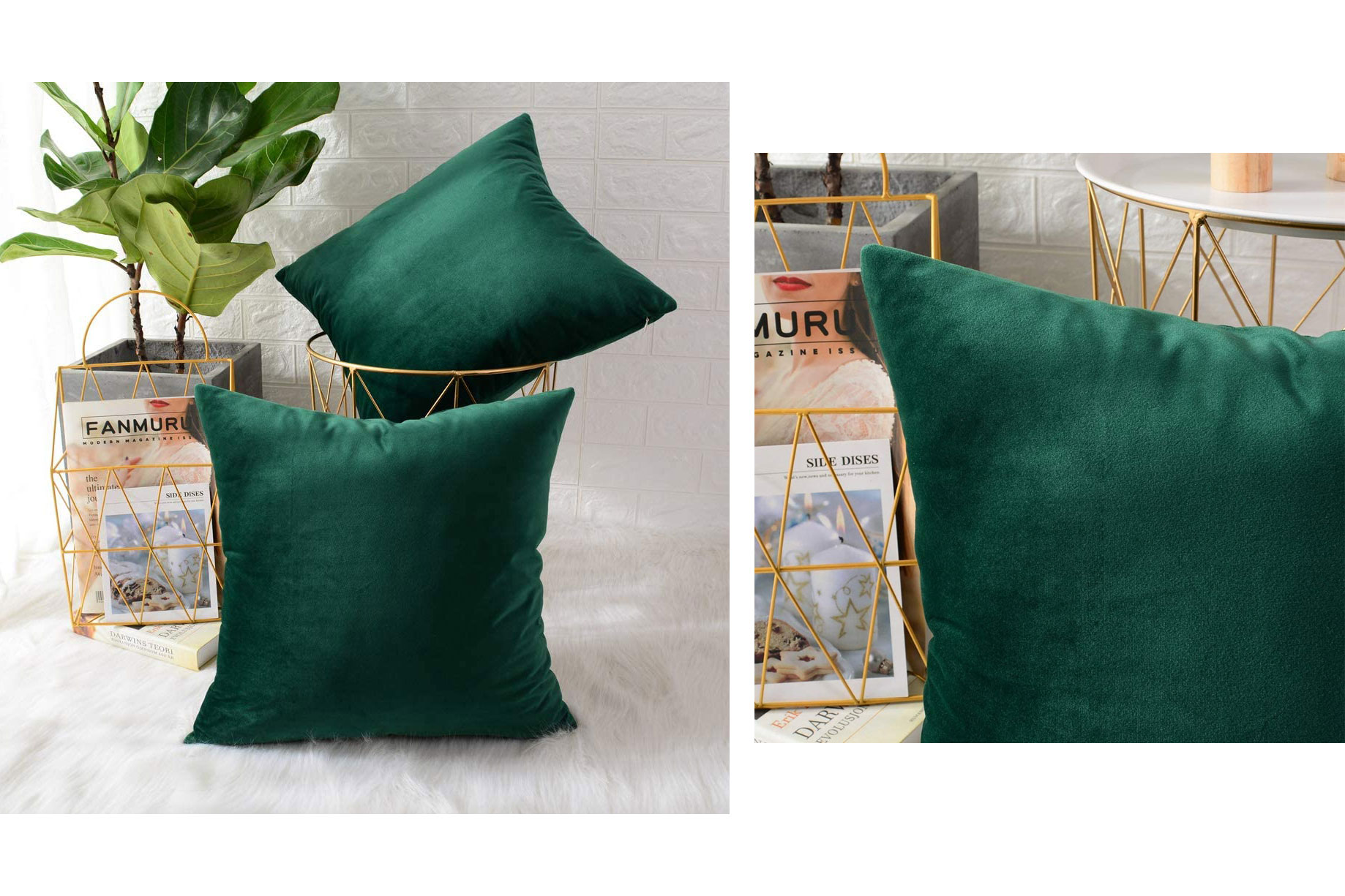green velvet pillows amazon