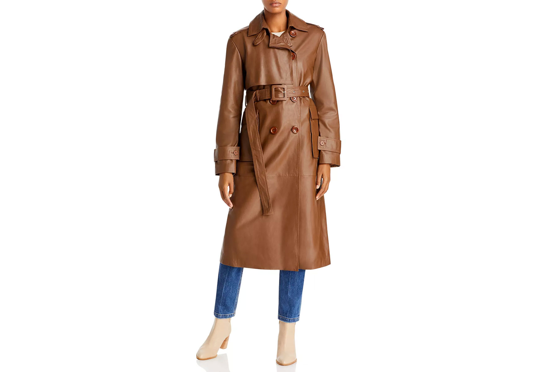 Women's brown/tan leather trench coat