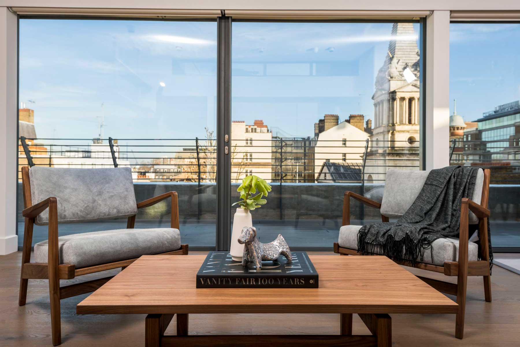 Living room seating with a view in London