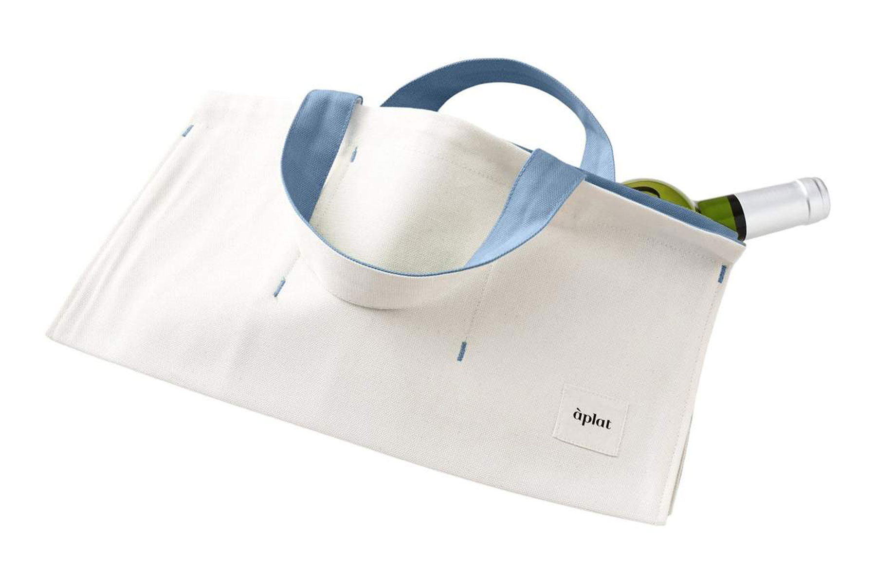 white and blue wine tote