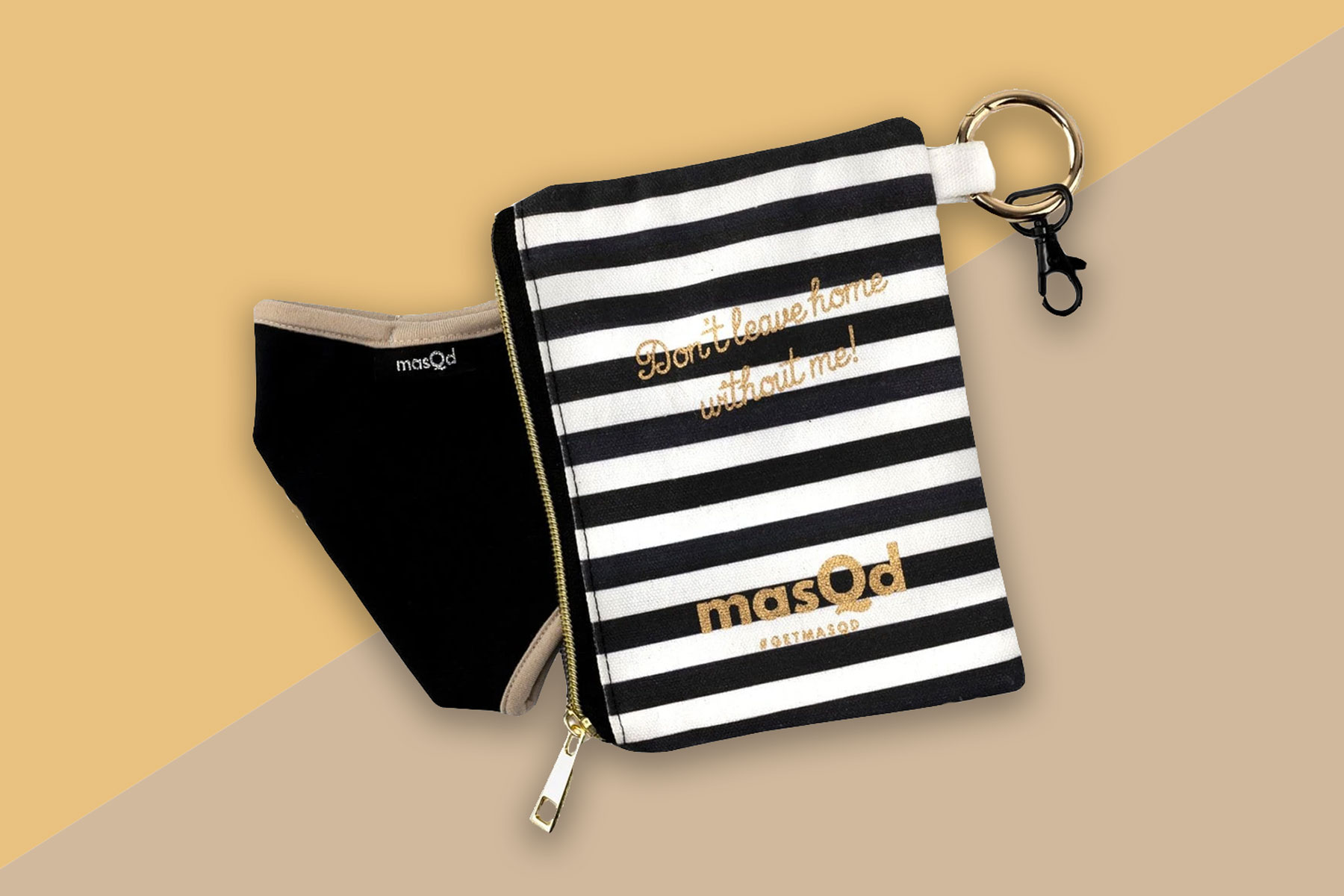 Face mask and striped black and white pouch
