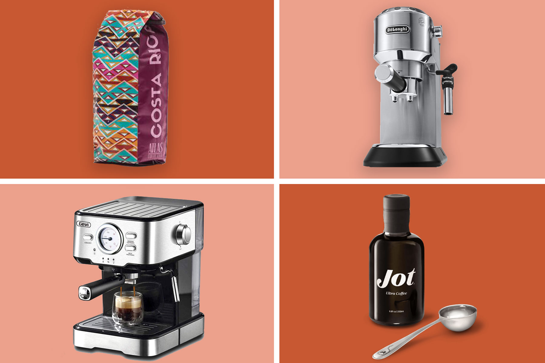 Various coffee machines, beans, coffee concentrate