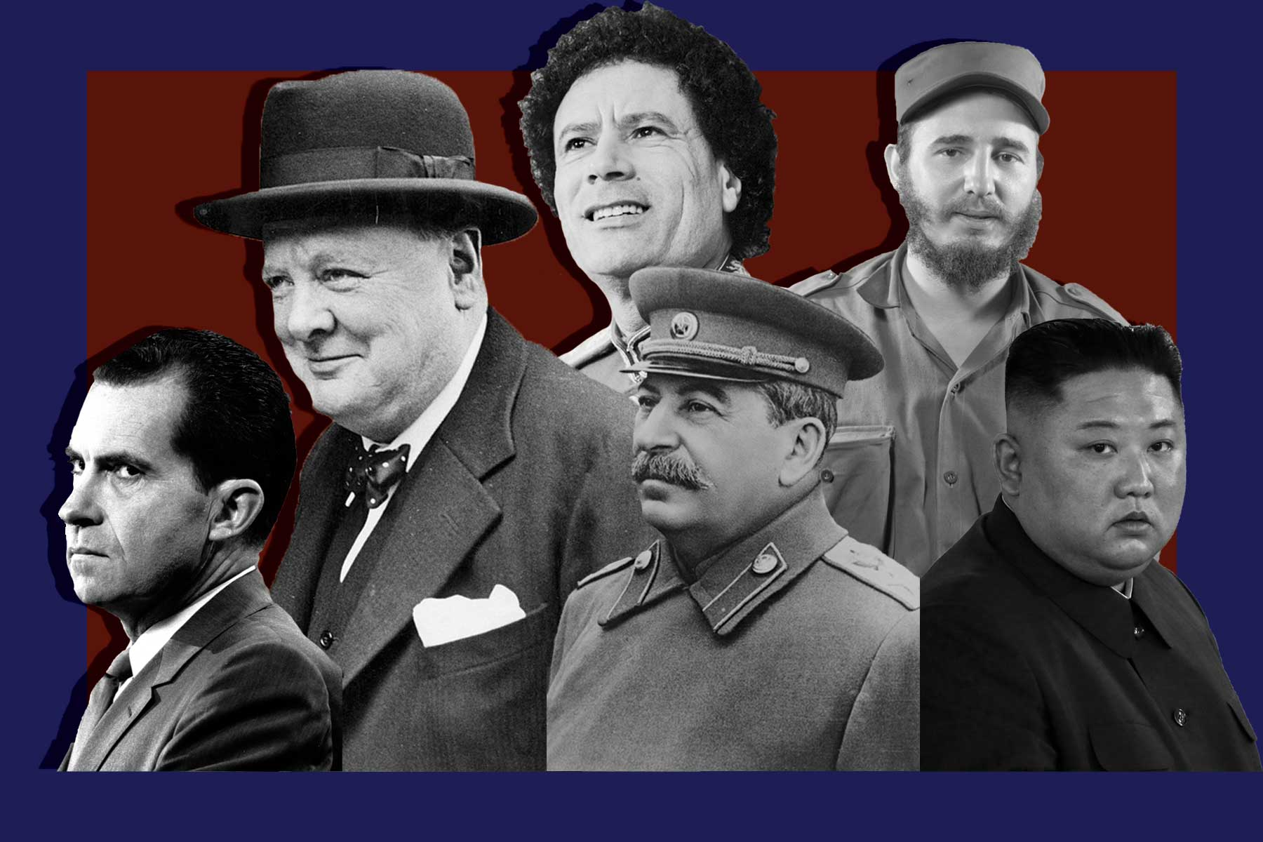 Portraits of historical world leaders. Showing Richard Nixon, Winston Churchill, Joseph Stalin, Fidel Castro and Kim Jong-Un