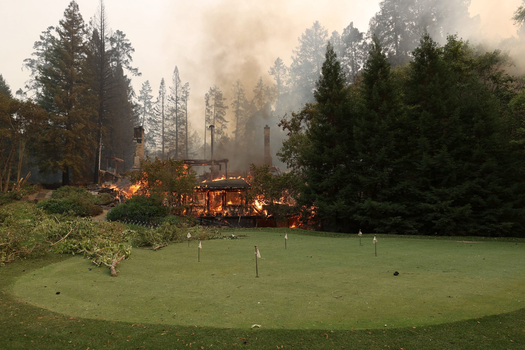 Damage at the Meadowood Napa Valley luxury from the Glass Fire