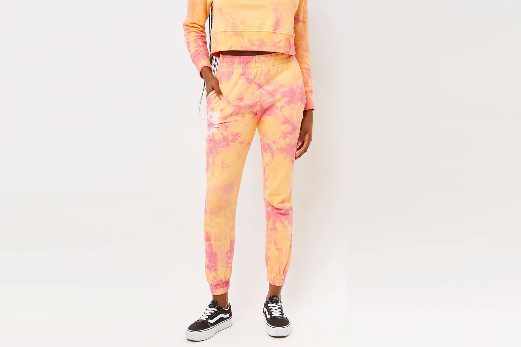 Orange and pink tie-dye sweatpants