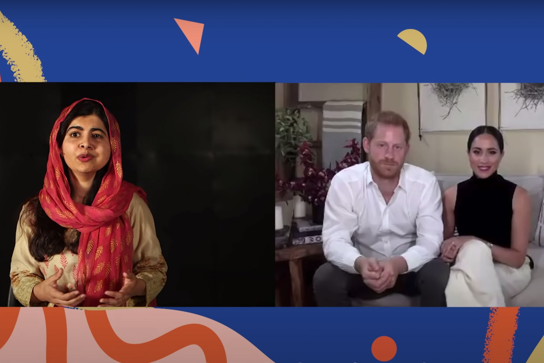 Meghan Markle and Prince Harry with Malala Yousafzai