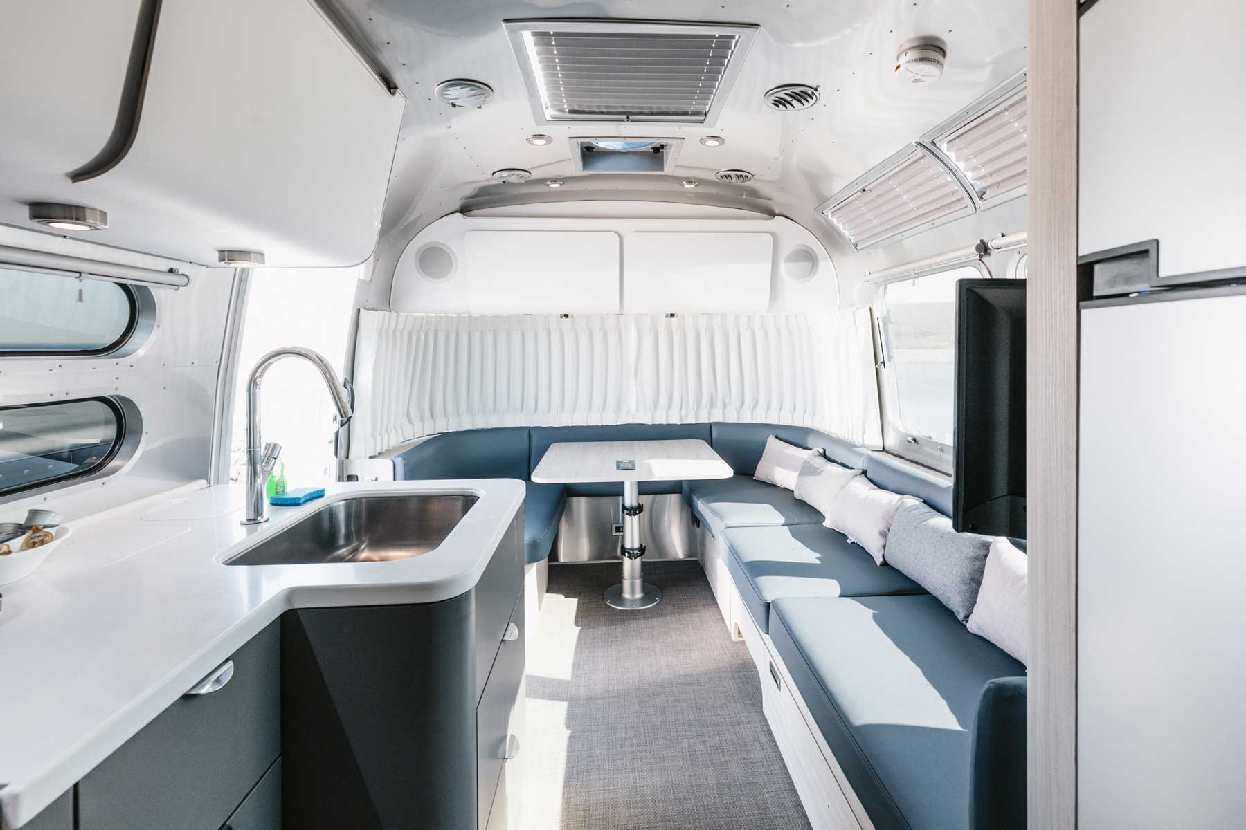 Interior of luxury airstream trailer