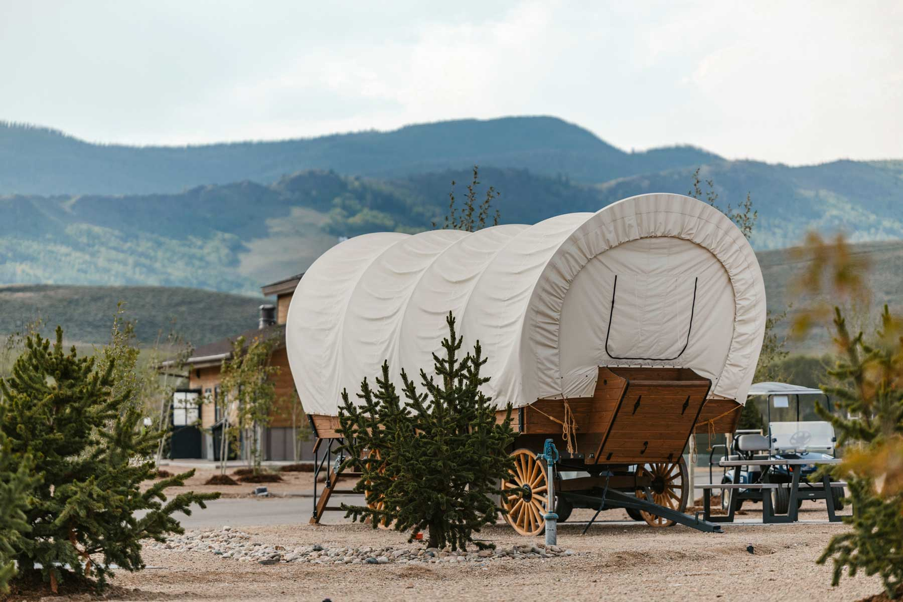 Covered wagon at RV resort in Colorado