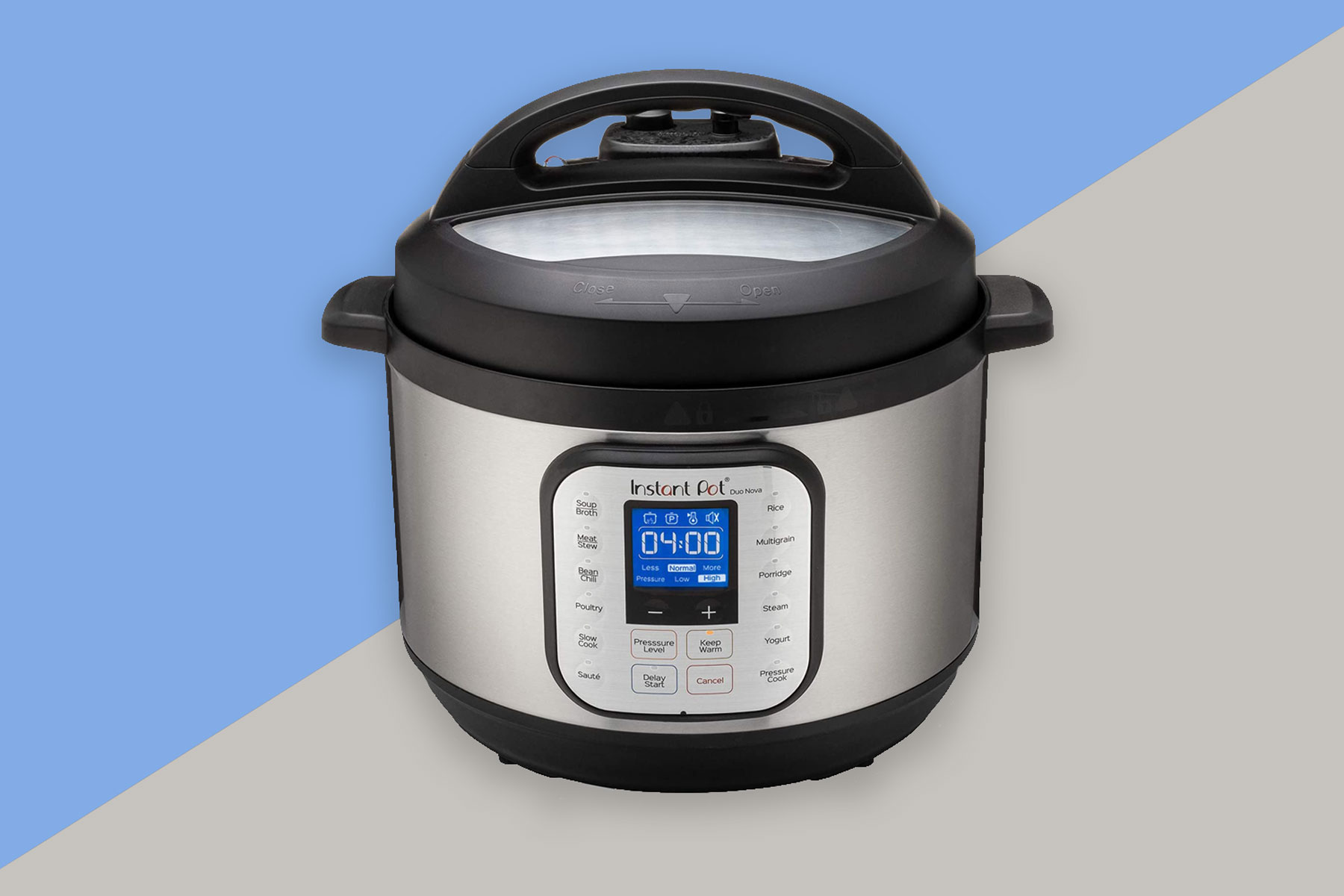 Silver and black Instant Pot pressure cooker