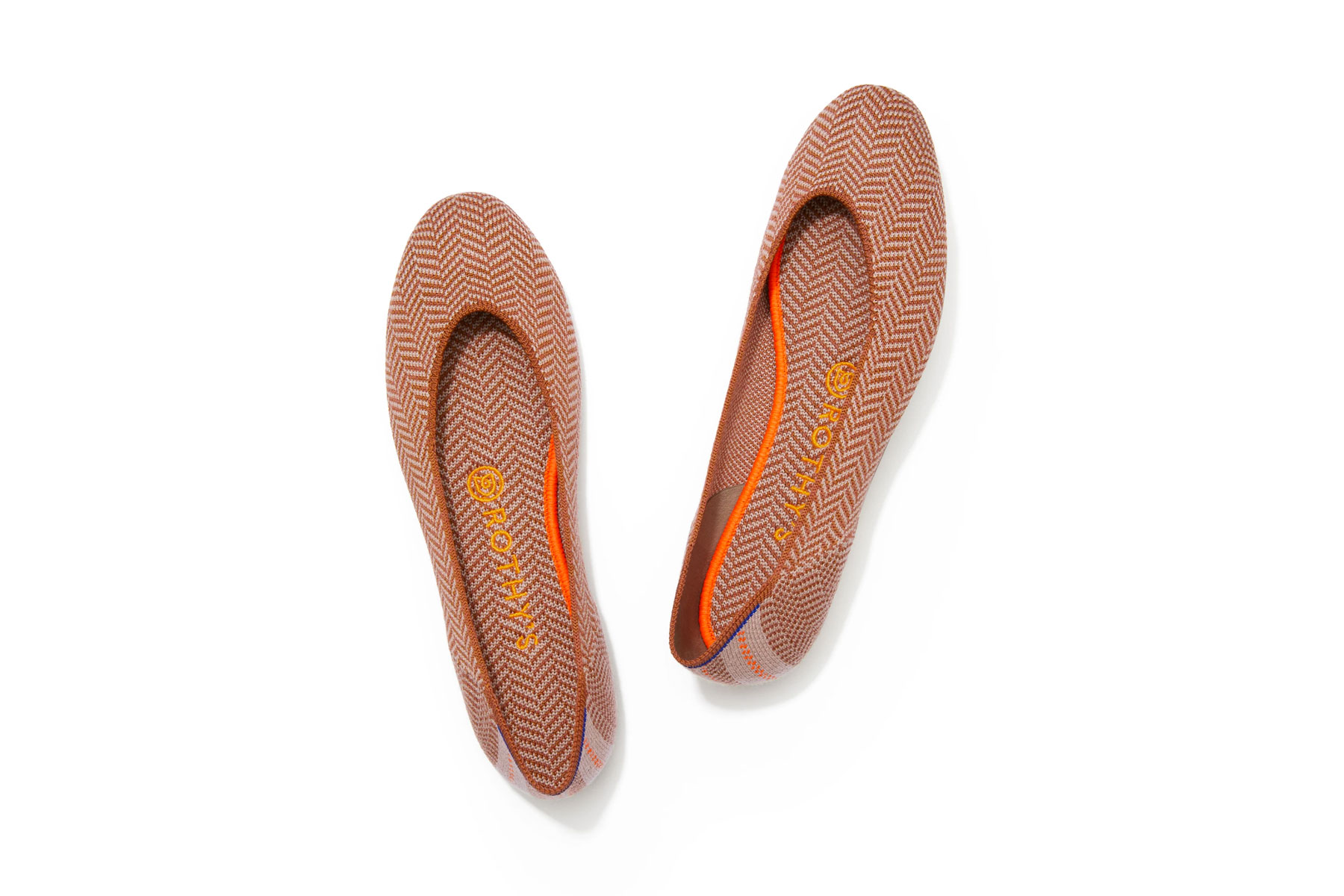 Orange and nude patterned flats