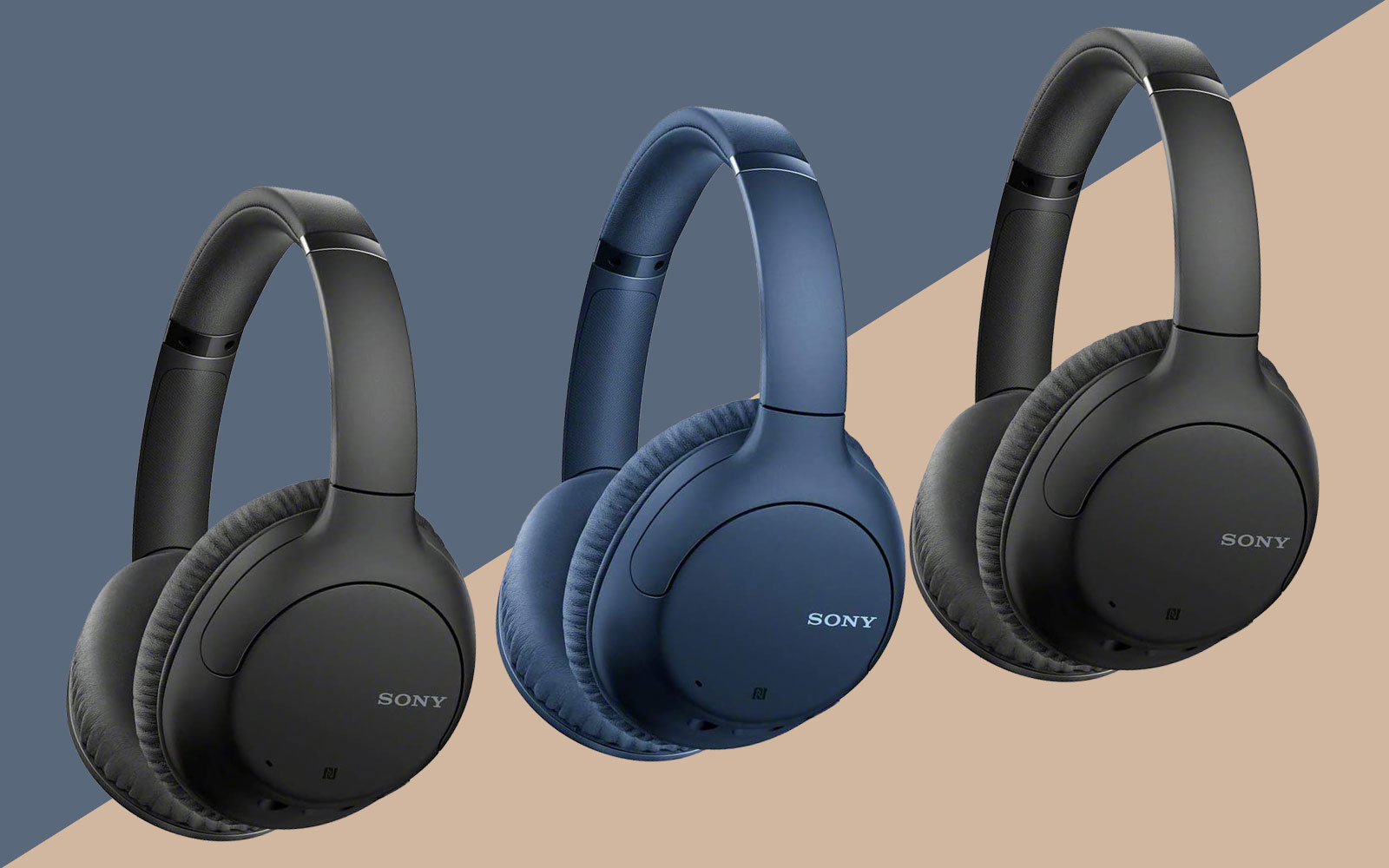 sony noise cancelling headphones bluetooth blue black