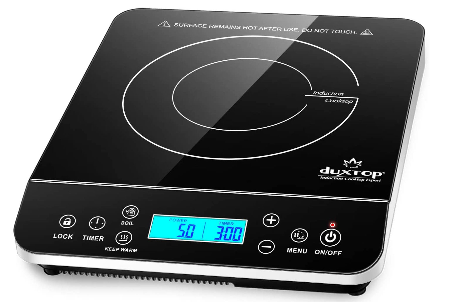 Black portable induction cooktop