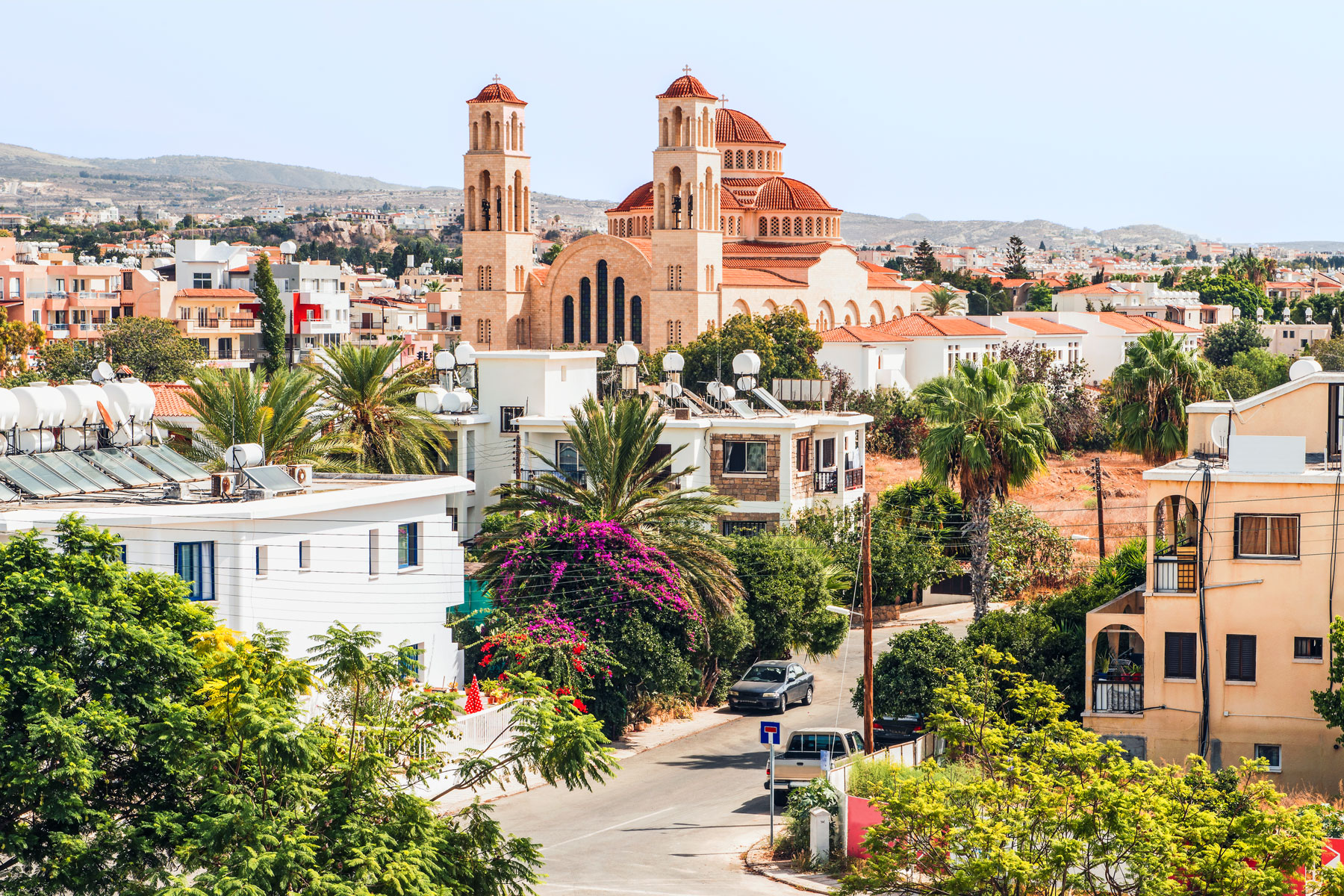 View of Paphos with the Orthodox Cathedral of Agio Anargyroi, Cyprus